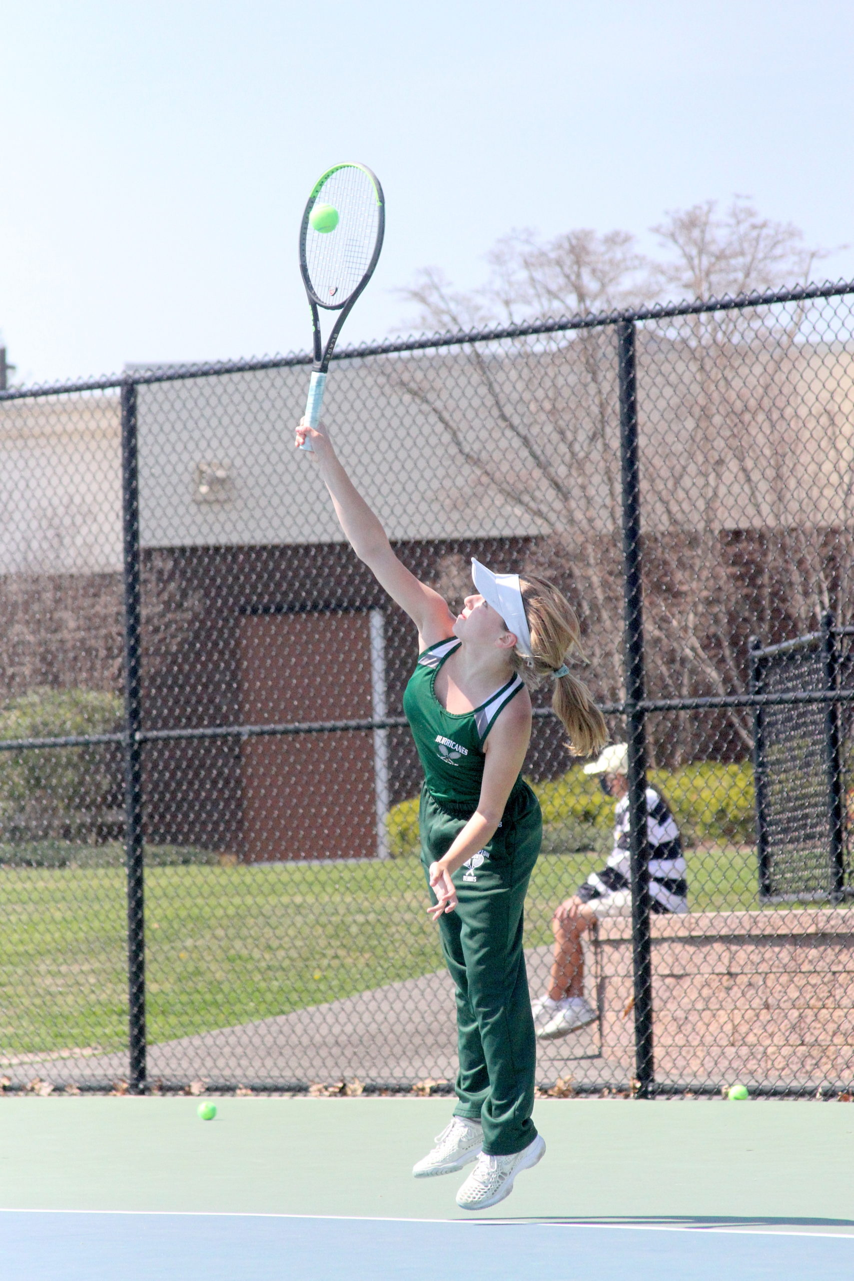 Westhampton Beach eighth-grader Matilda Buchen serves the ball in the Division IV singles finals on Tuesday.