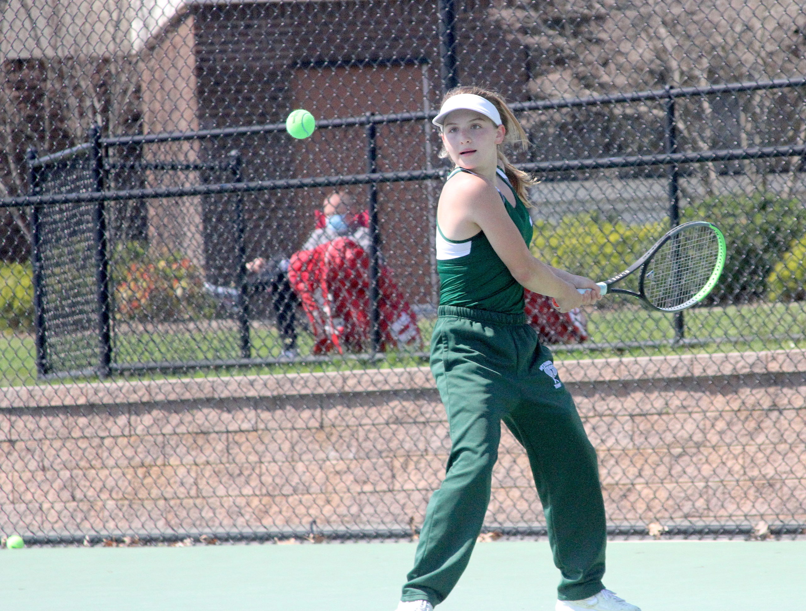 Westhampton Beach eighth-grader Matilda Buchen keeps her eye on the ball in the Division IV singles finals.