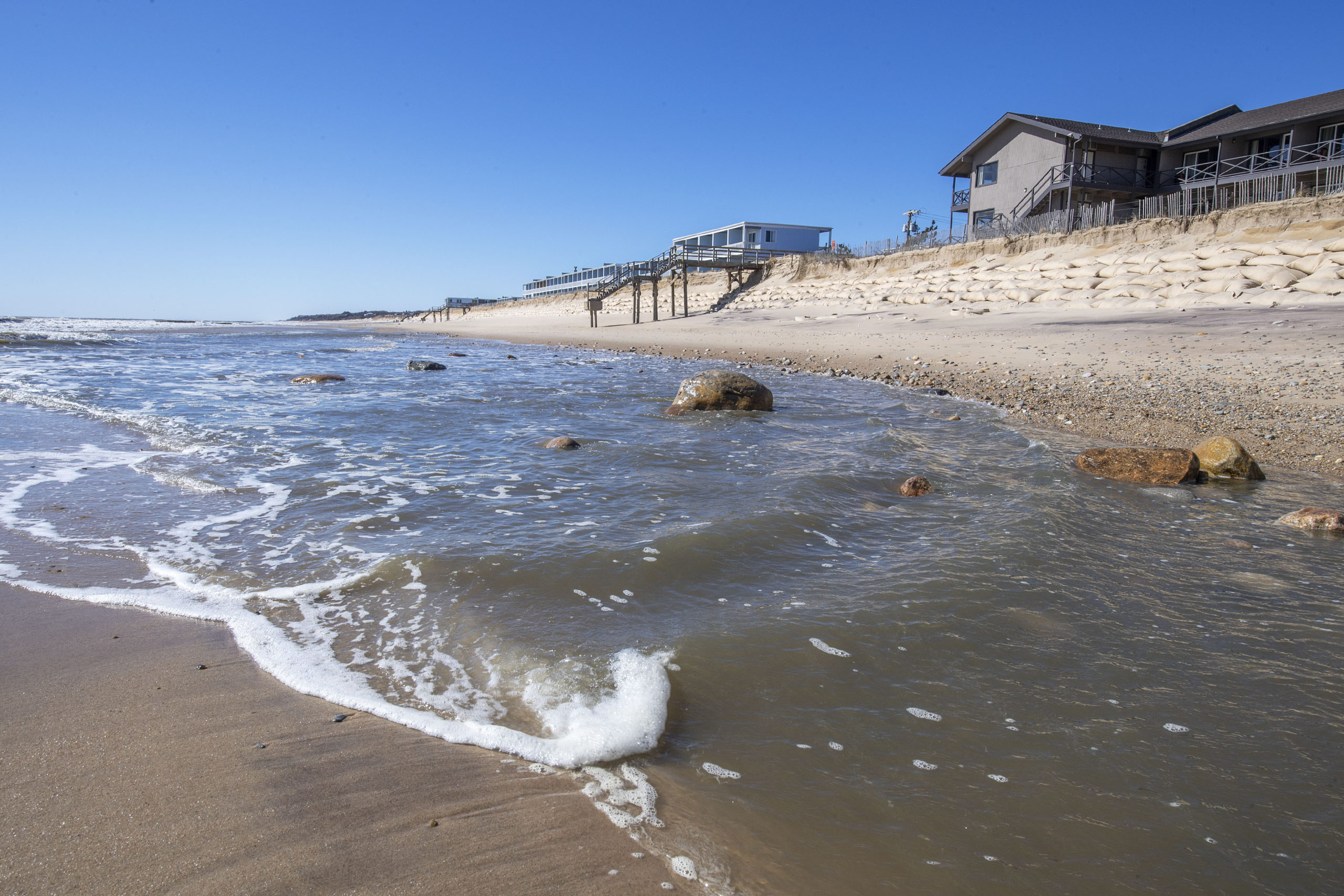 Montauk's beachfront suffered from severe erosion this winter and will cost the town more than $750,000 to replace the lost sand. Residents and officials are pleading with the Army Corps of Engineers to bump the region back up the priority list for the major beach nourishment projects coming in 2022.