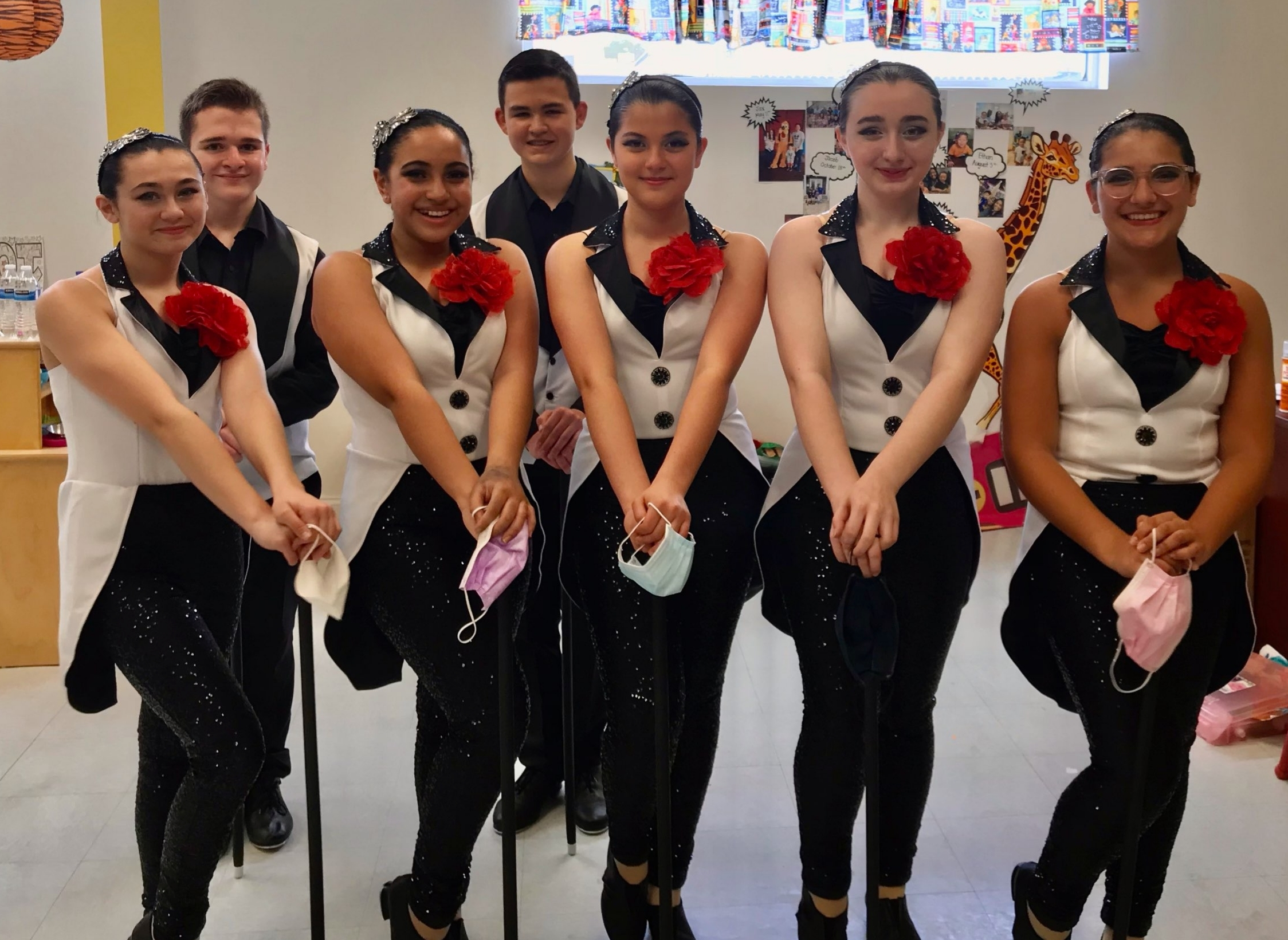 Members of the Our Lady of the Hamptons senior tap team readied for competition last week in Southampton. Photo courtesy of OLH.