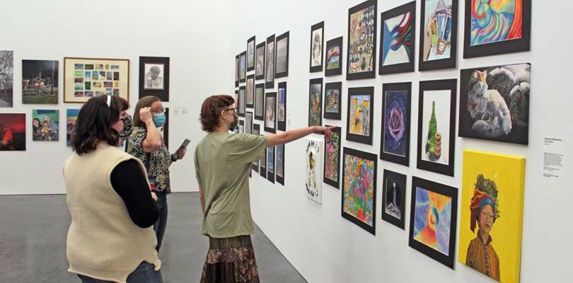 Guests at the 2021 Student Exhibition.