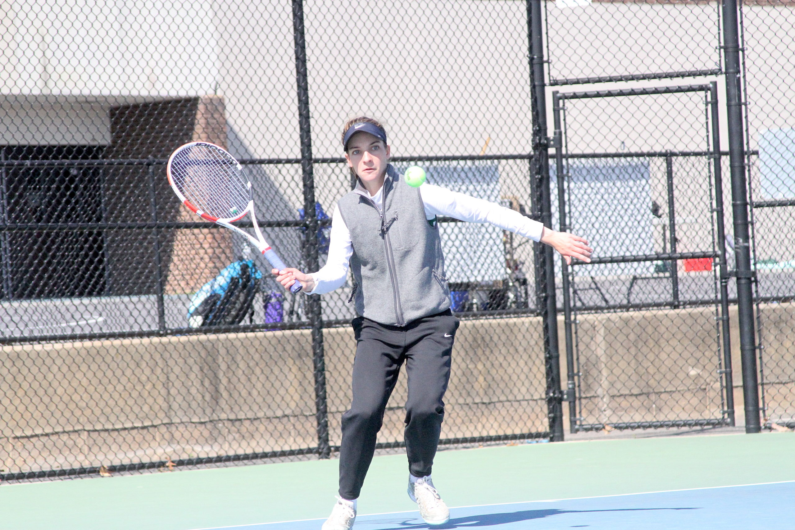 Westhampton Beach junior Rose Hayes readies to return the ball during her Suffolk County singles quarterfinal match.