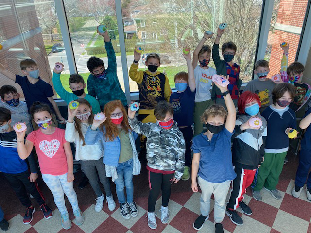 Southampton Elementary School students decorated more than 100 rocks as part of a project for the Phillips Family Cancer Center at Stony Brook Southampton.