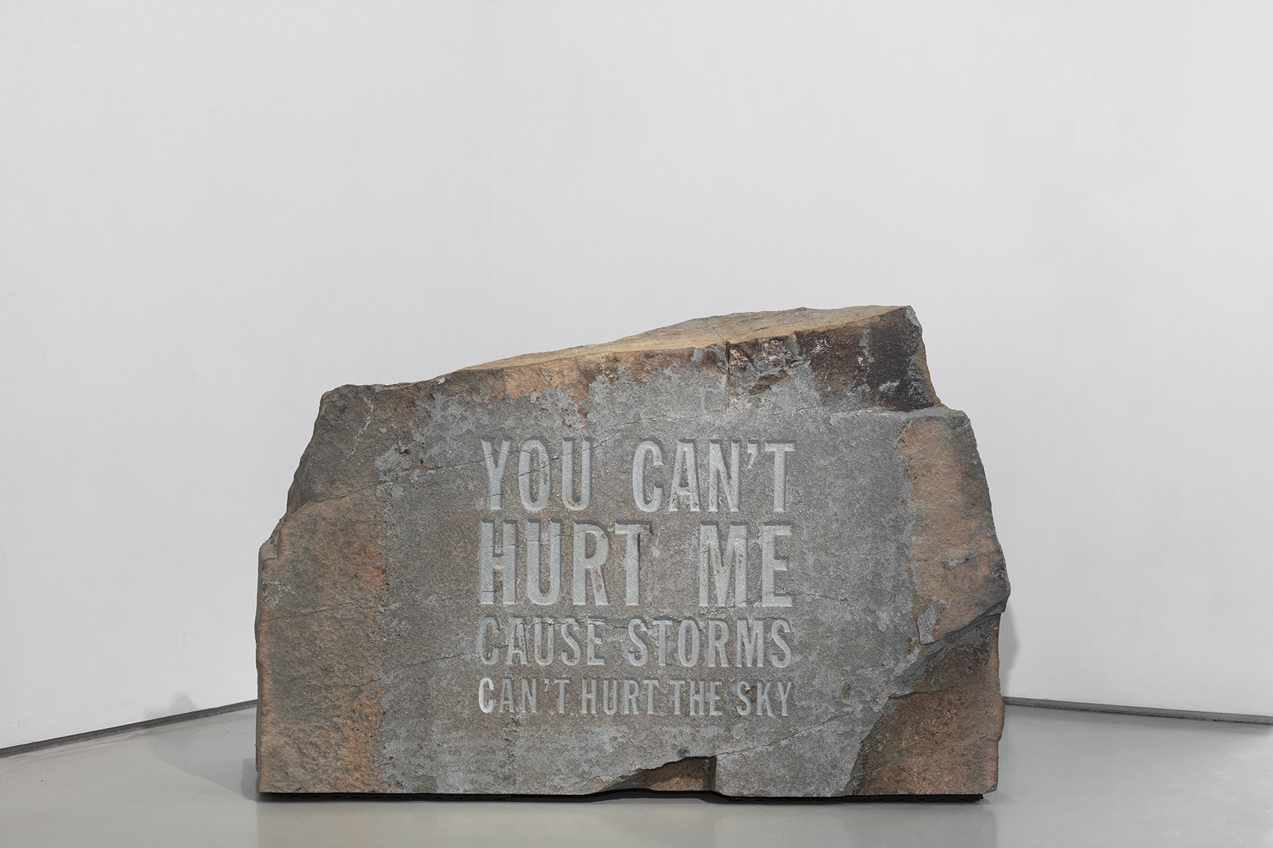 """John Giorno's """"You Can't Hurt Me Cause Storms Can't Hurt the Sky,"""" 2019."""