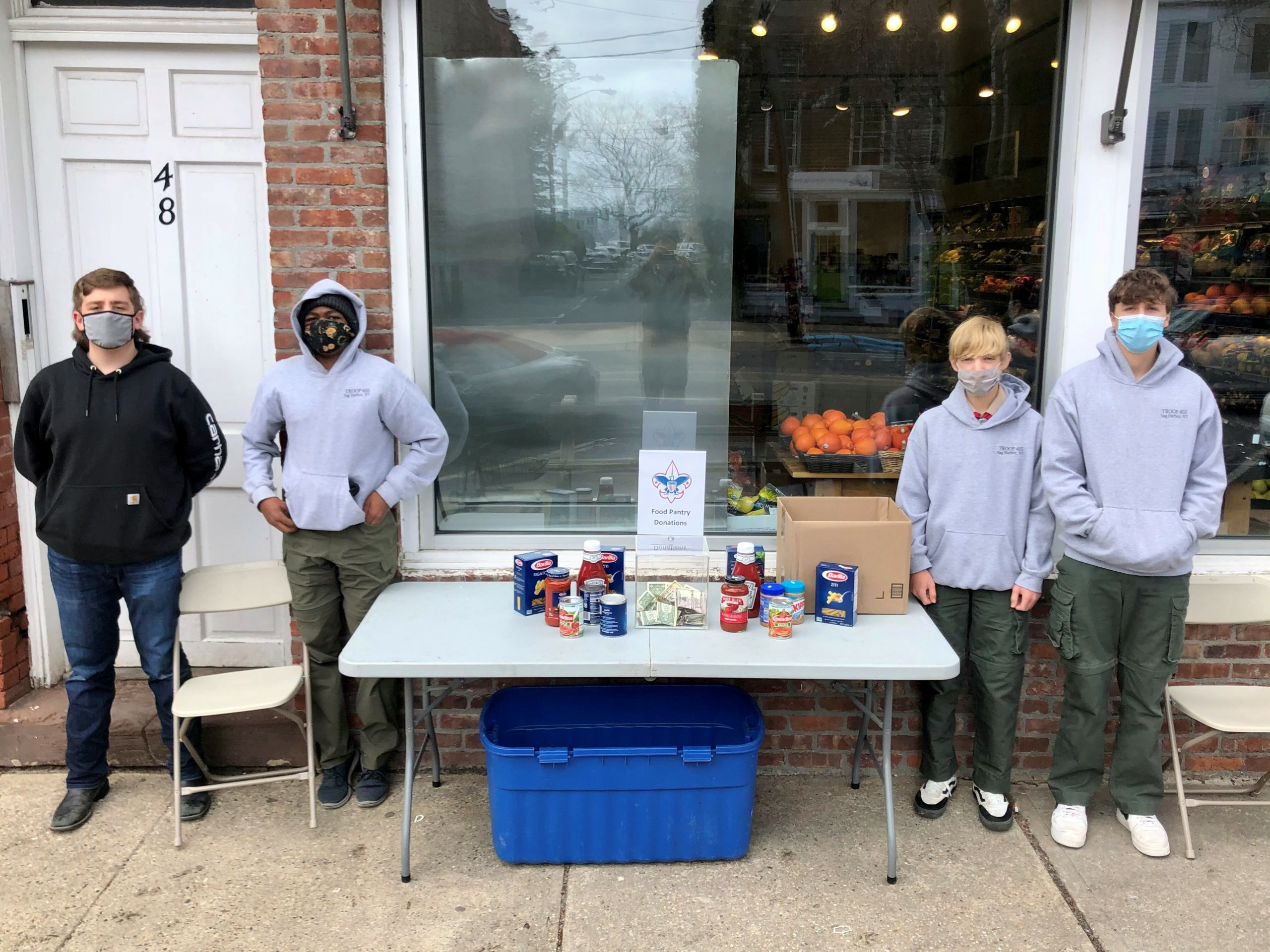 James Farrell, Keanu King, Michael Ramundo and Troy Remkus were a part of a food drive held by the Boy Scouts of Troop 455 Sag Harbor last Saturday, April 24, on Main Street in support of the Sag Harbor Food Pantry. The troop collected a large box of food donations and $208 to support the pantry's efforts.
