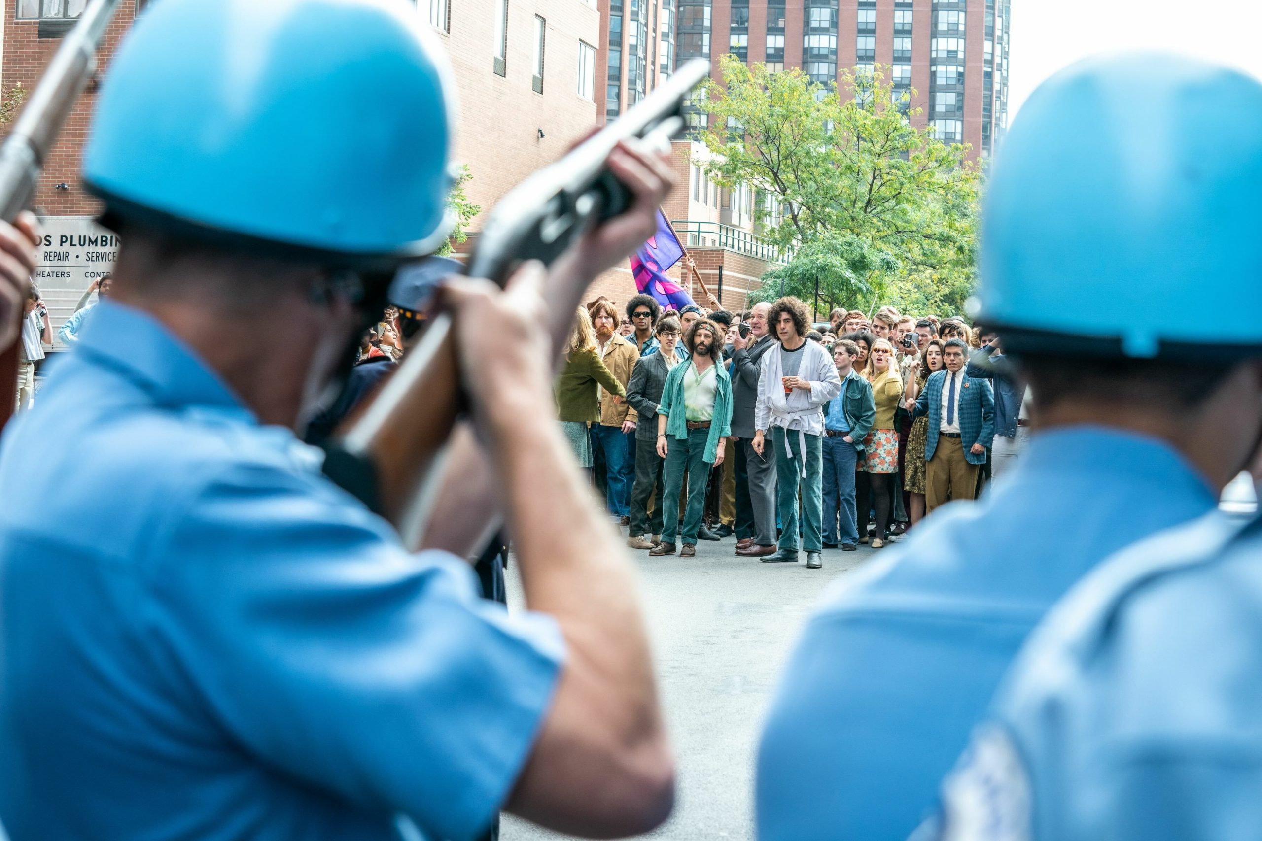 """Protest scene in Aaron Sorkin's film """"The Trial of the Chicago 7."""