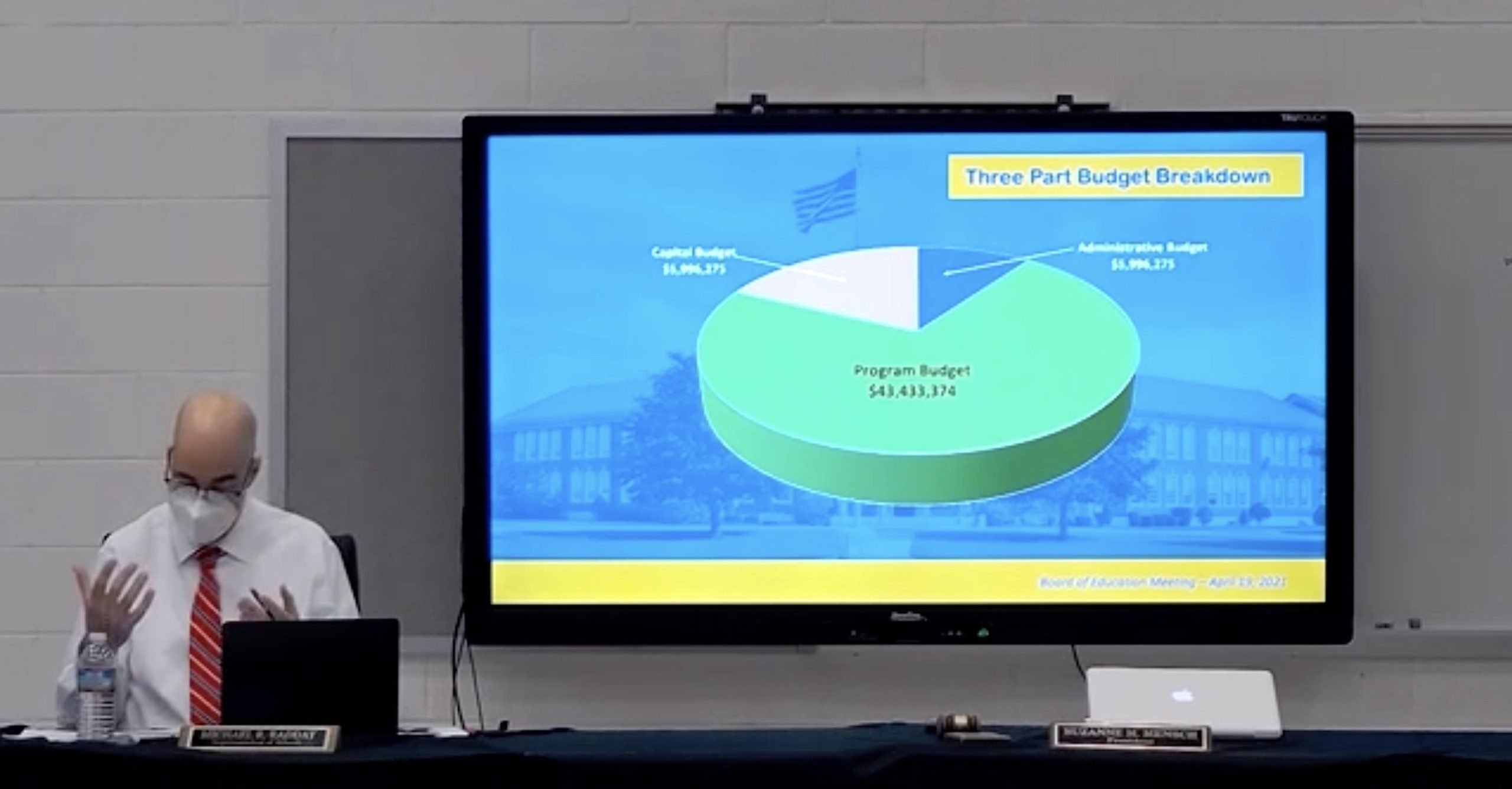 Westhampton Beach Superintendent Michael Radday discusses the three-part budget breakdown during his presentation on the proposed 2021-22 school budget April 19.