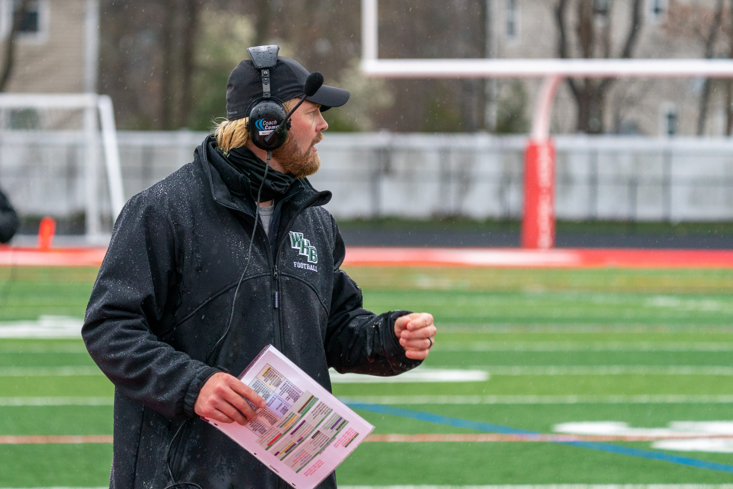 Westhampton Beach assistant coach Cole Magner is pumped up after a big play.