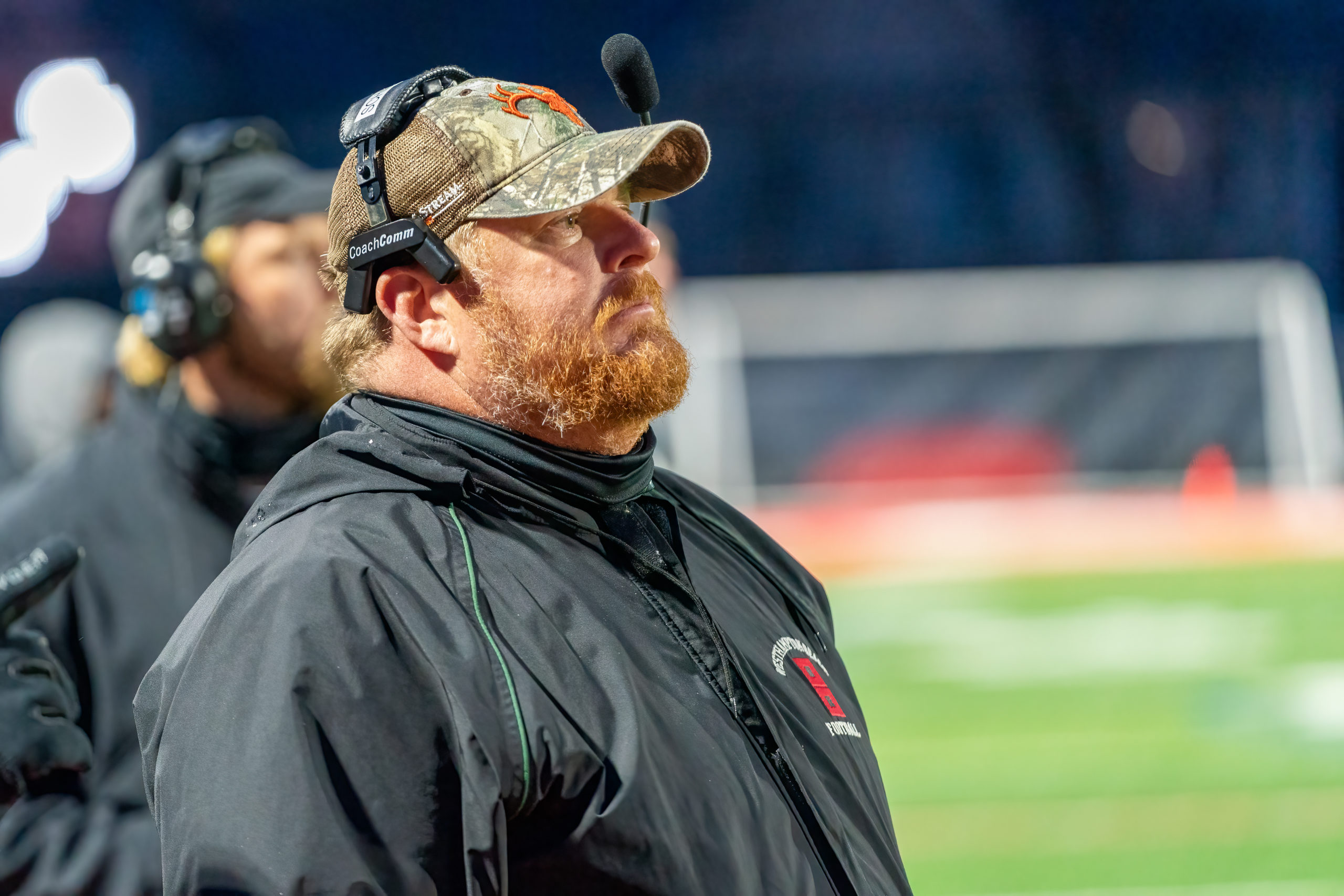 Westhampton Beach head coach Bryan Shaumloffel watches his team. His Hurricanes played from behind for most of the game but came back to win, 27-21.