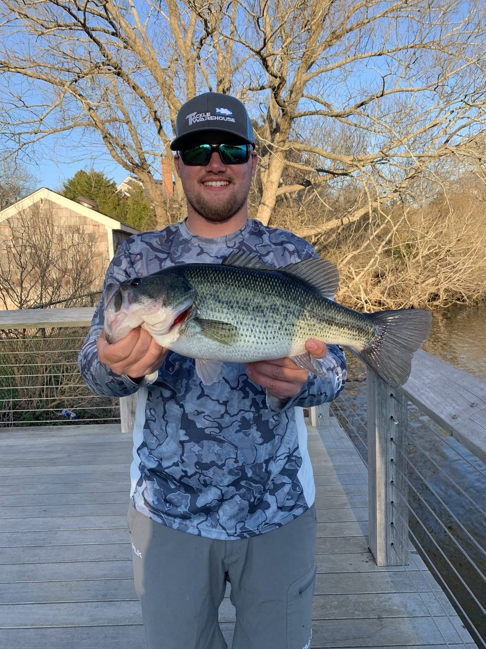 Who needs a boat? Jimmy O'Brien pulled this chunky largemouth bass out of Lake Agawam from the public boardwalk in Agawam Park.