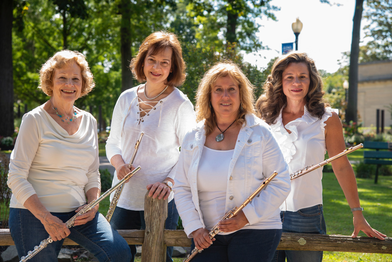 Flutissimo! is a quartet of flute players, from left,  Jerene Weitman, Claudia Beeby, Leslie Stait and  Jennifer Haley.