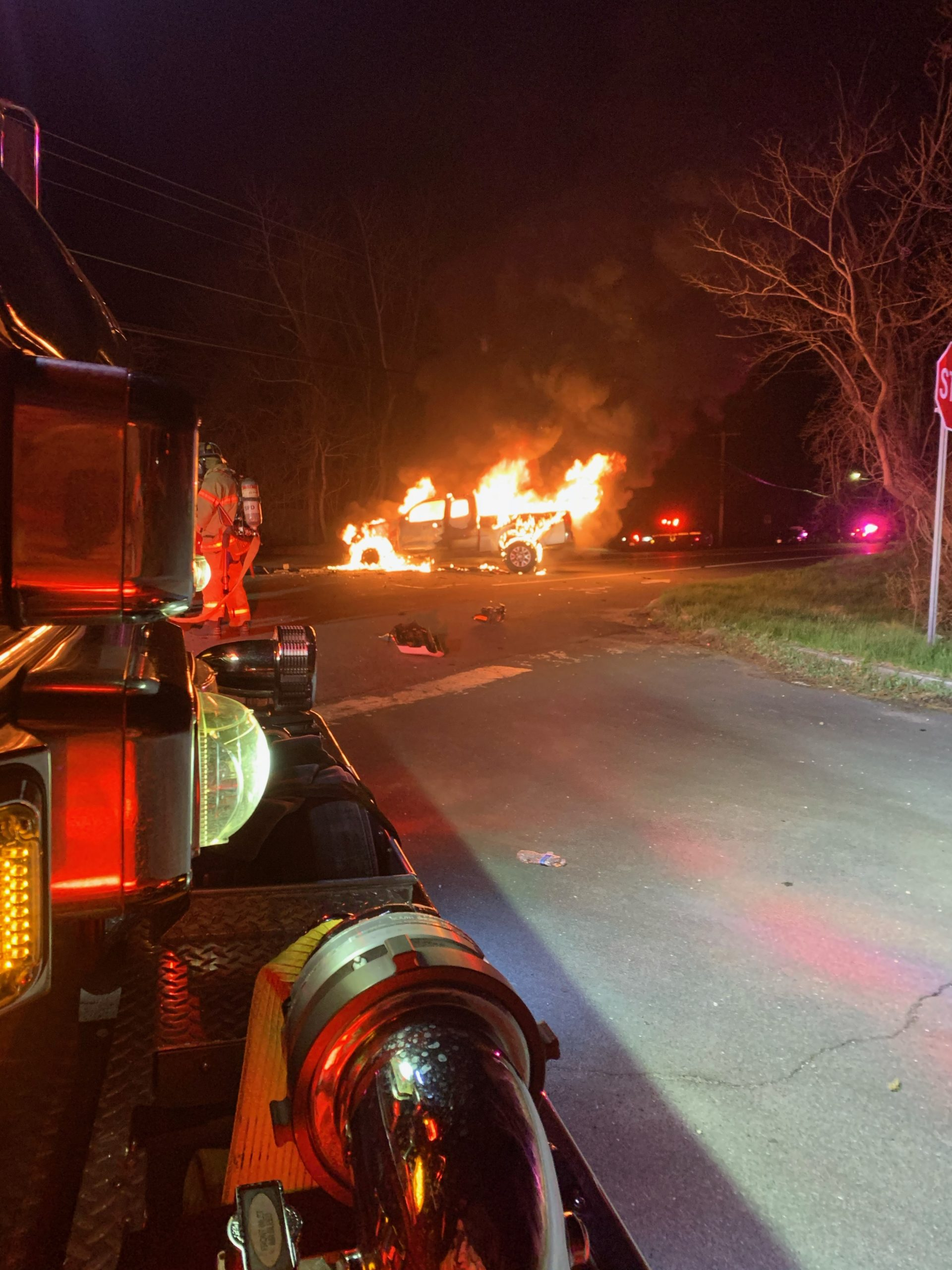 Firefighters responded to a truck fire on Wednesday night in Shinnecock Hills.