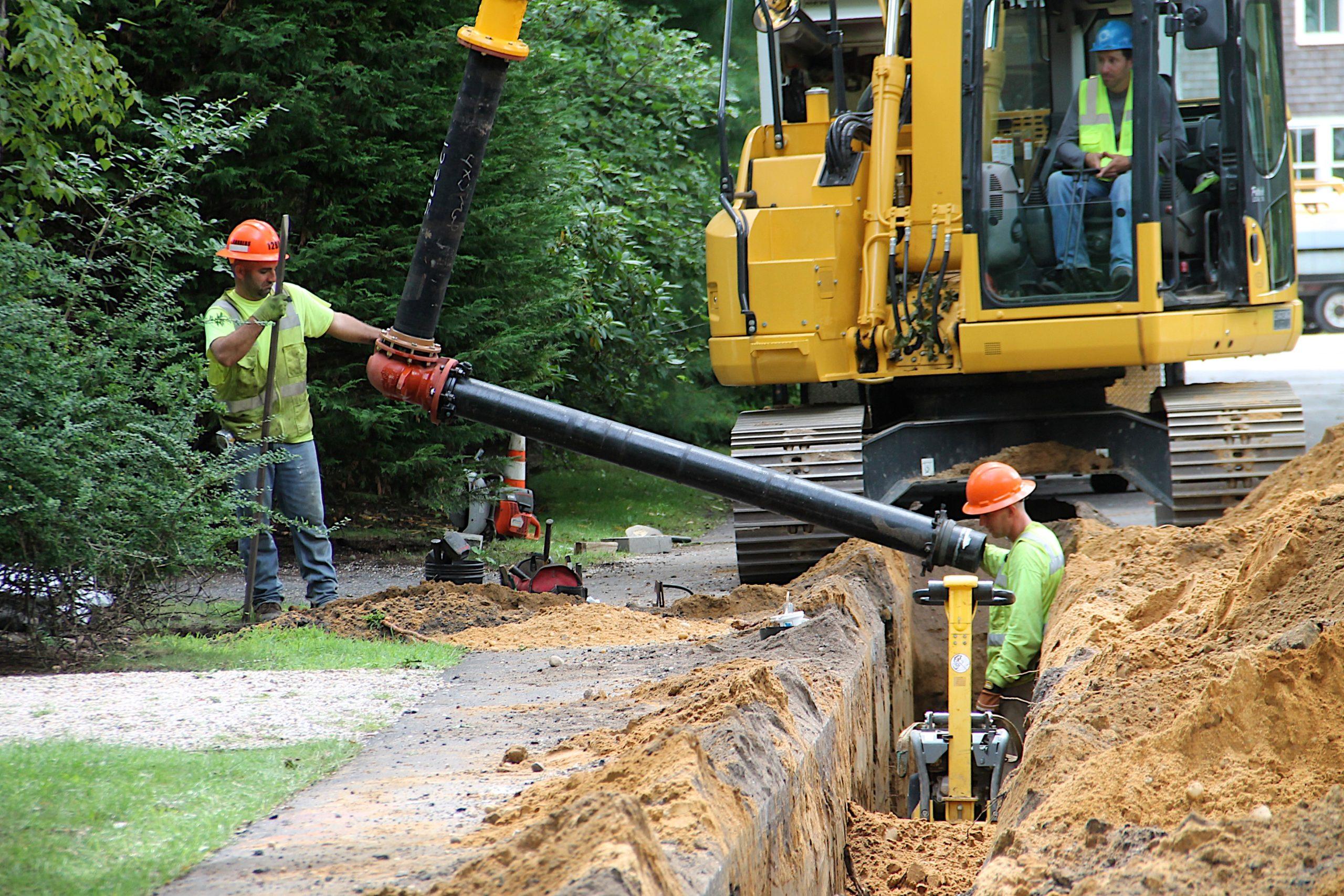 Suffok County Water Authority contractors installing water mains in Wainscott in 2018.