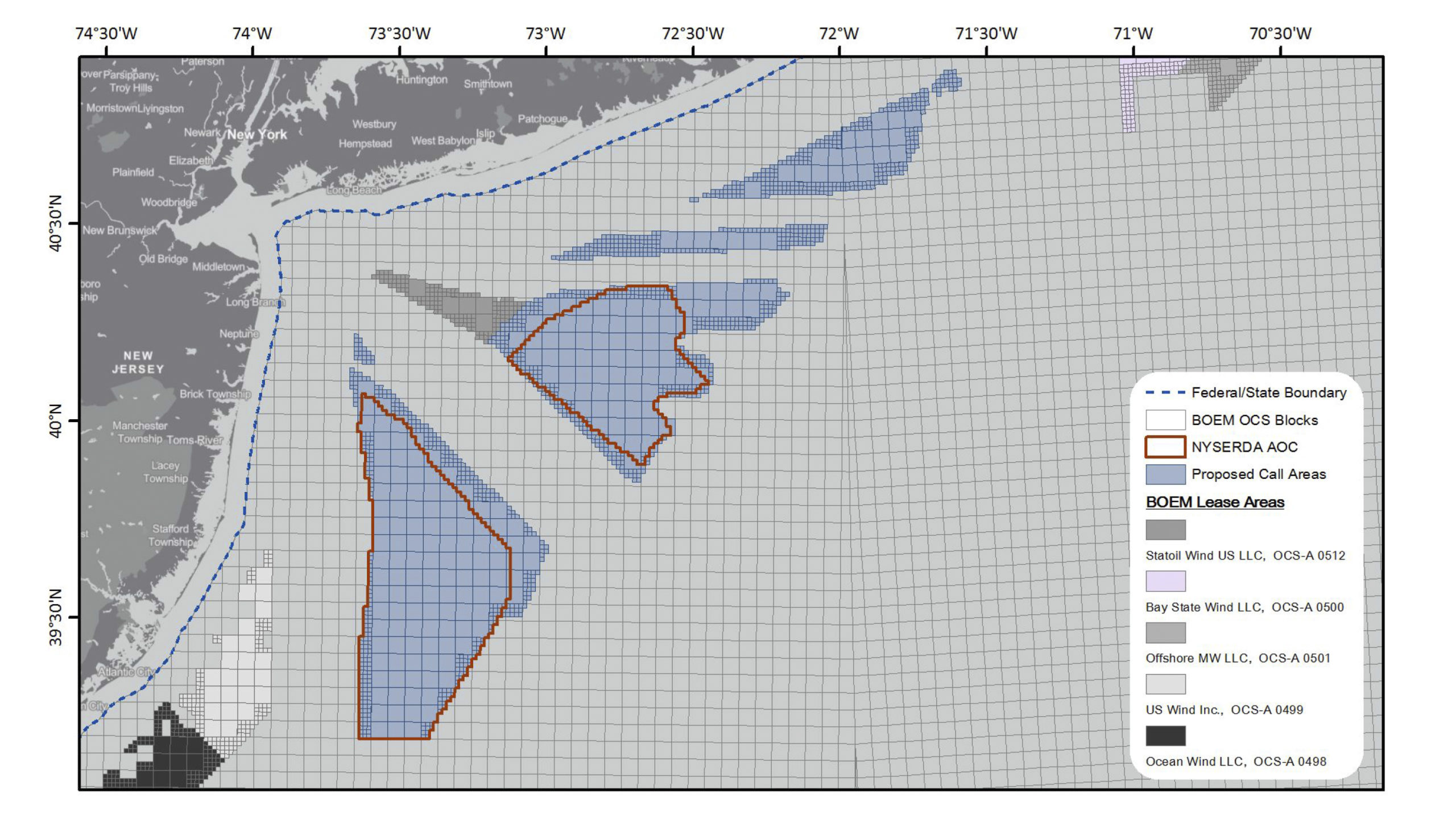 The federal Bureau of Ocean Energy Management said it will not offer leases in the two wind lease areas off the South Fork, for now.
