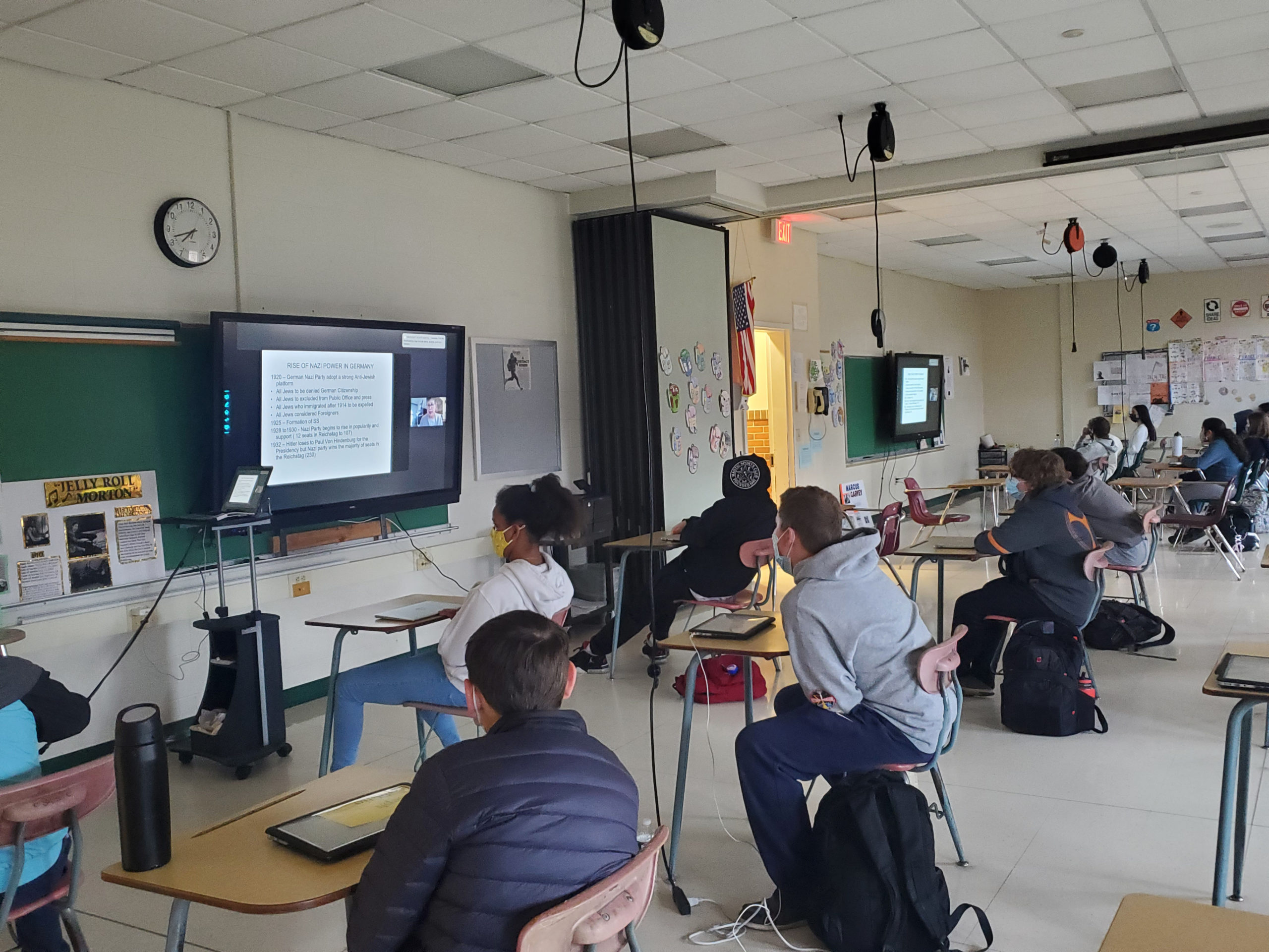 """Westhampton Beach Middle School eighth grade students recently concluded a study of the Holocaust in their English language arts class. As part of the unit, students read """"Night"""" by Elie Wiesel and virtually met with Dona Rosenblum, a well-known Holocaust educator."""