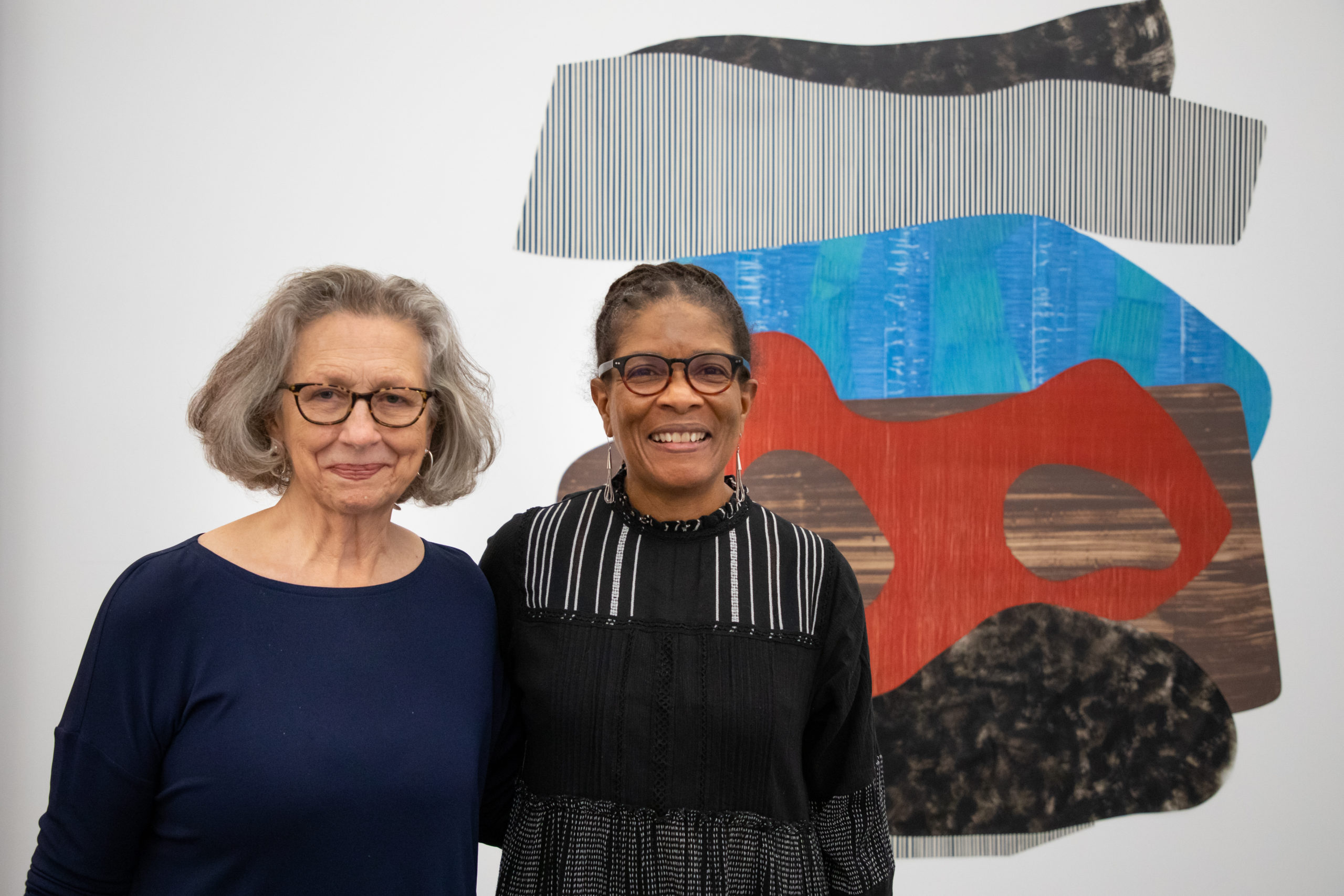 Curator Alicia G. Longwell with artist Nanette Carter at the opening of