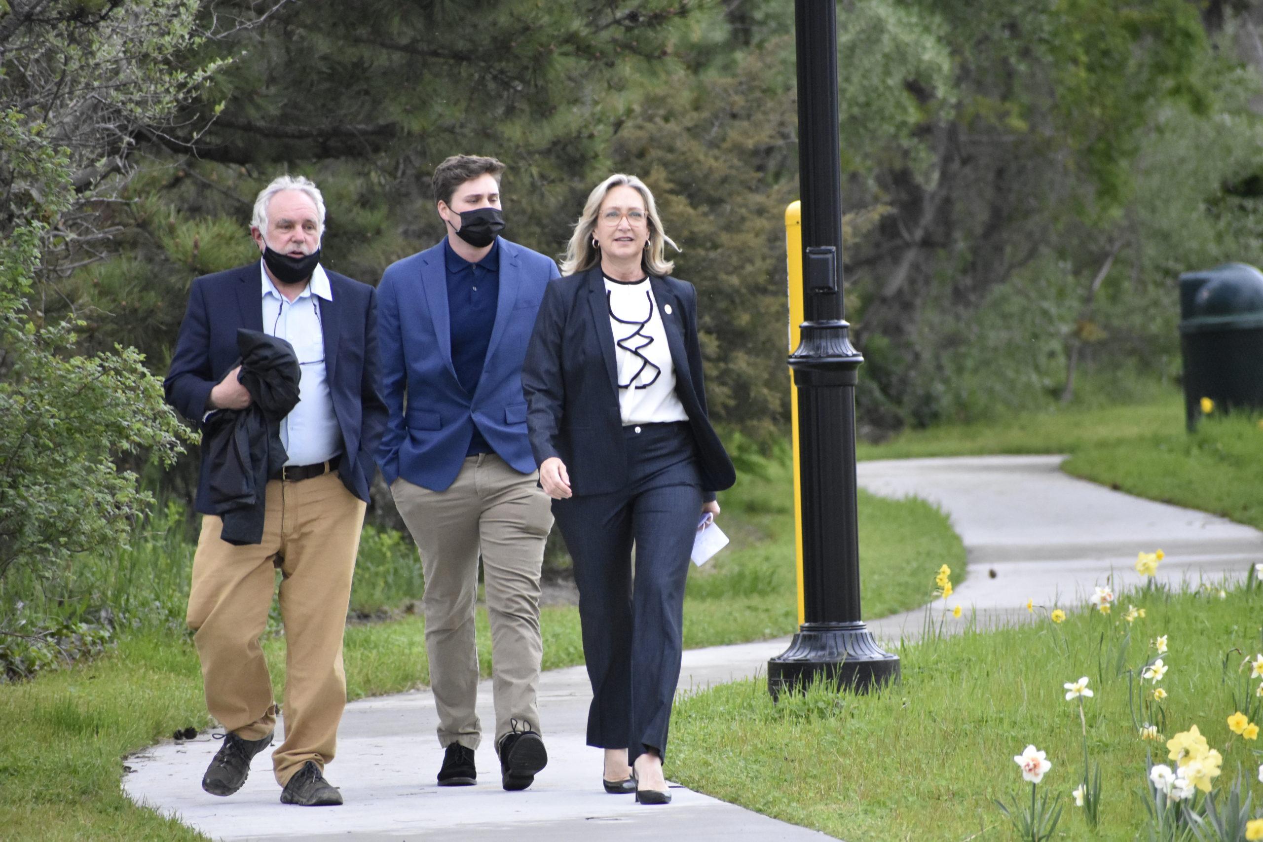 Bridget Fleming with her husband, Bob Agoglia, and son Jai Agoglia.