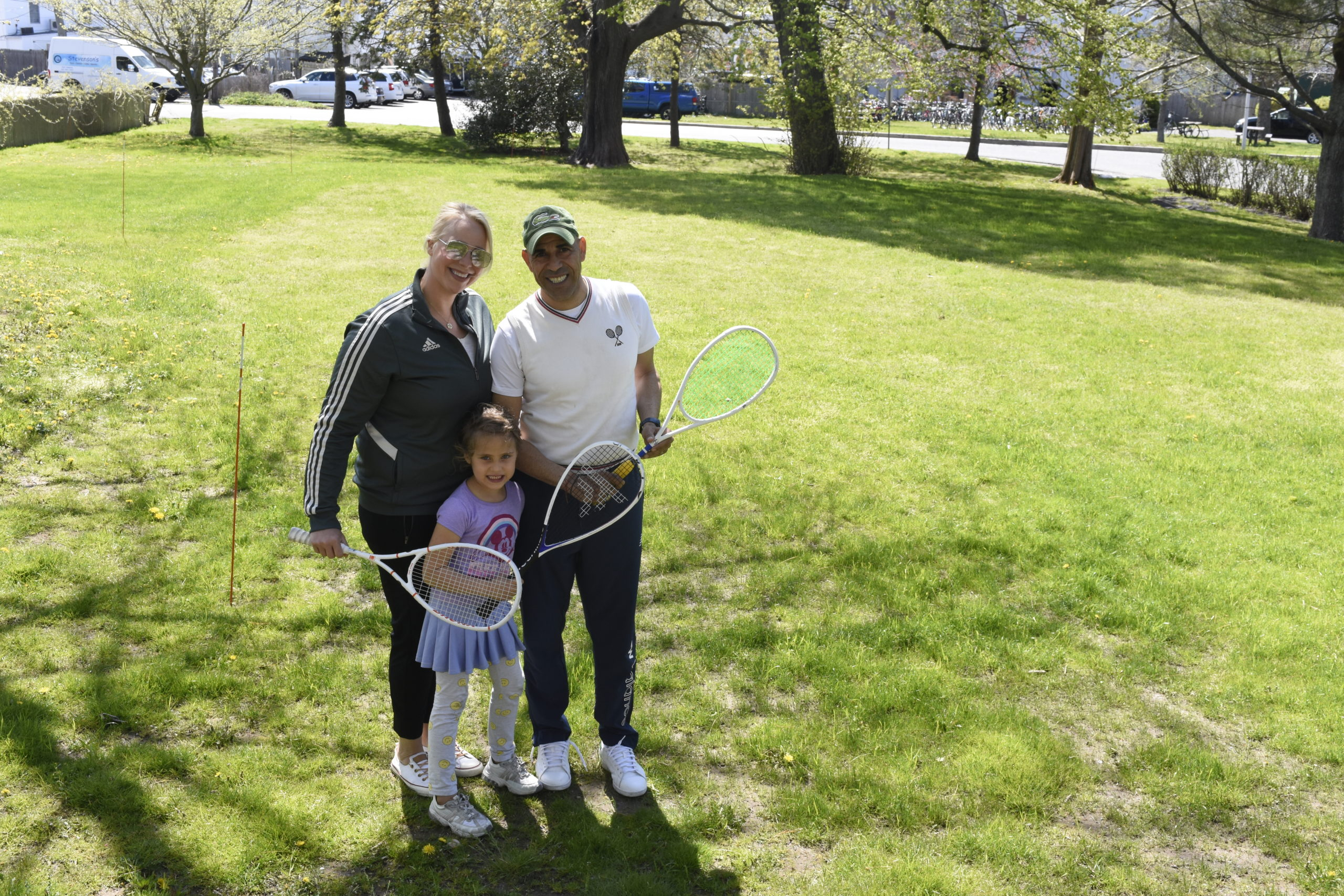 Stephanie Janus, Sayed Selim and their daughter, Sky Selim, standing where their squash courts will be built behind the Southampton Arts Center this summer. DREW BUDD