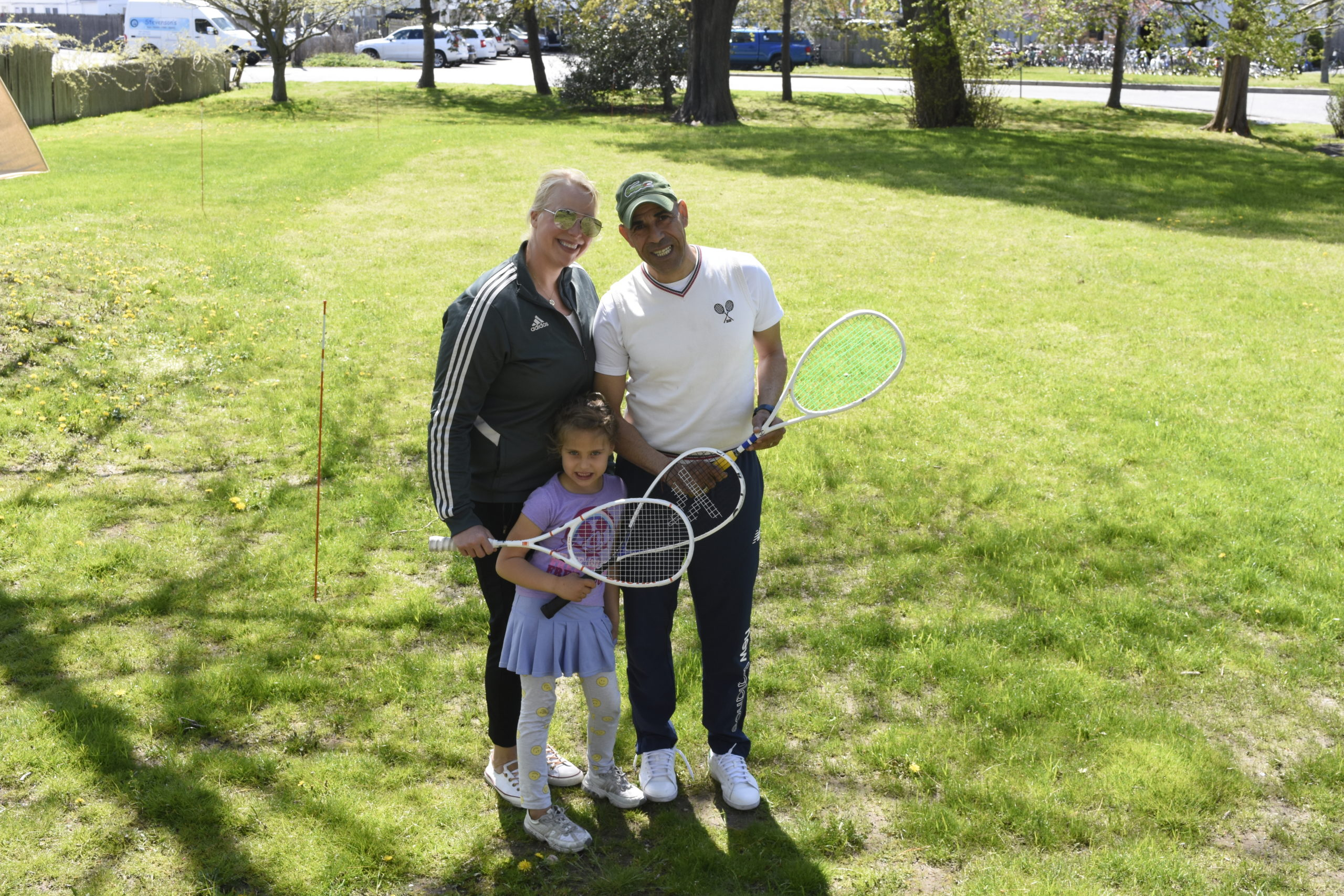 Stephanie Janus, Sayed Selim and their daughter, Sky Selim, standing where their squash courts will be built behind the Southampton Arts Center this summer.