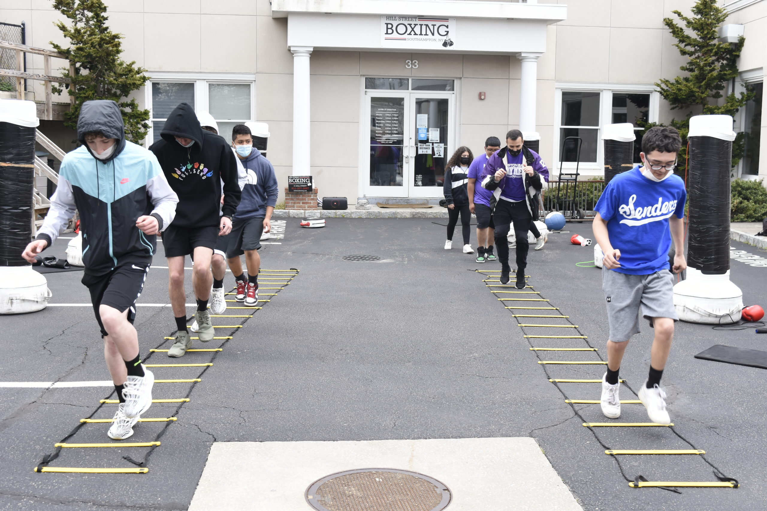 Hampton Bays students workout at Hill Street Boxing in Southampton on Friday.