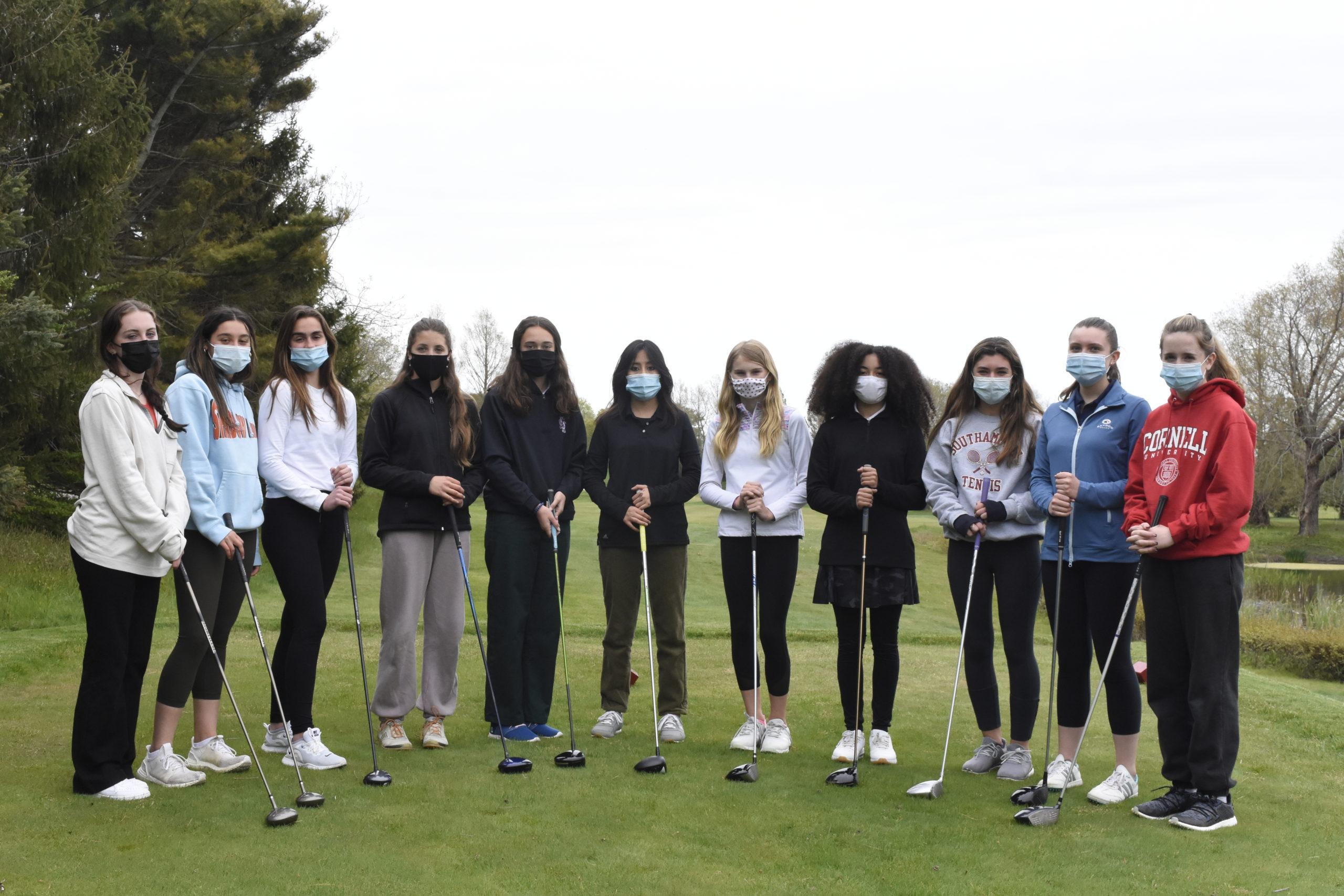 The Southampton-Pierson girls golf team this season comprises of, from left, Isabel Doyle, Eleana Merola, Sophia Beech, Vivienne Archer, Emma Vail, Zaida Triffit, Jillian Swiatocha, Ella Coady, Caroline Wilutis, Haley Marcincuk and Keira Gil.