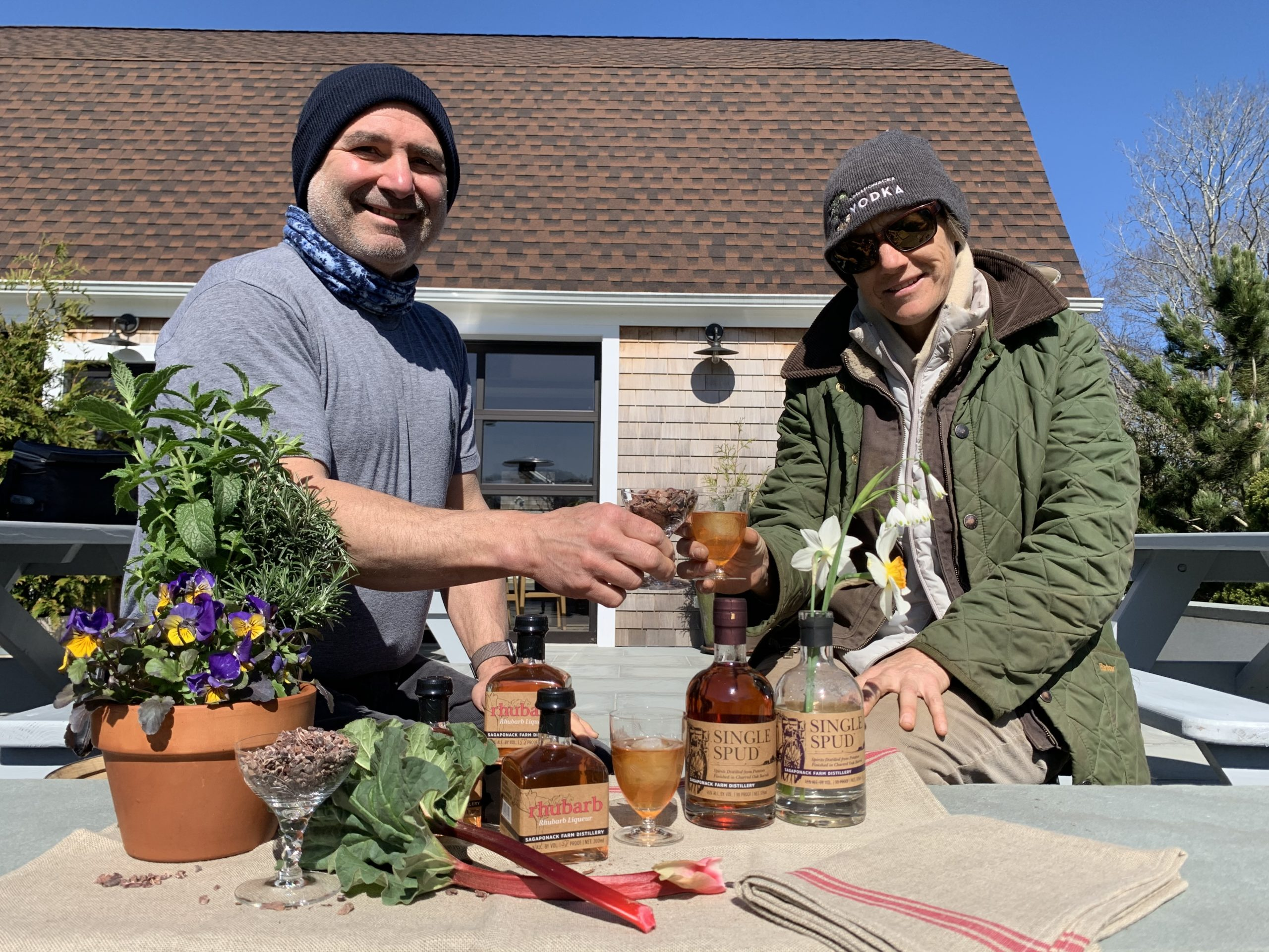 Chef Steven Amaral and Marilee Foster at Sagaponack Farm Distillery. The two have teamed up to make distillery chocolate bars.
