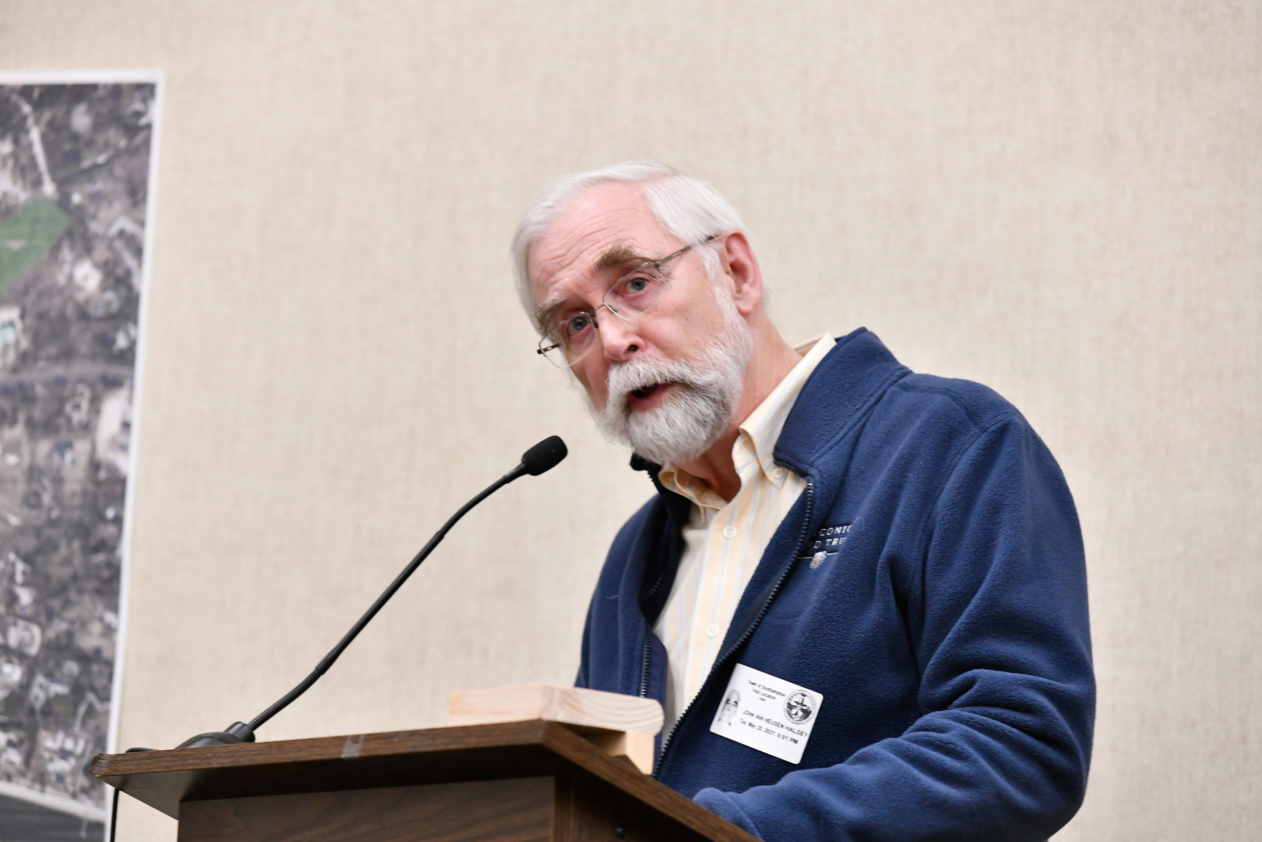 John v.H. Halsey of the Peconic Land Trust speaks at Tuesday's Southampton Town Board meeting.  DANA SHAW