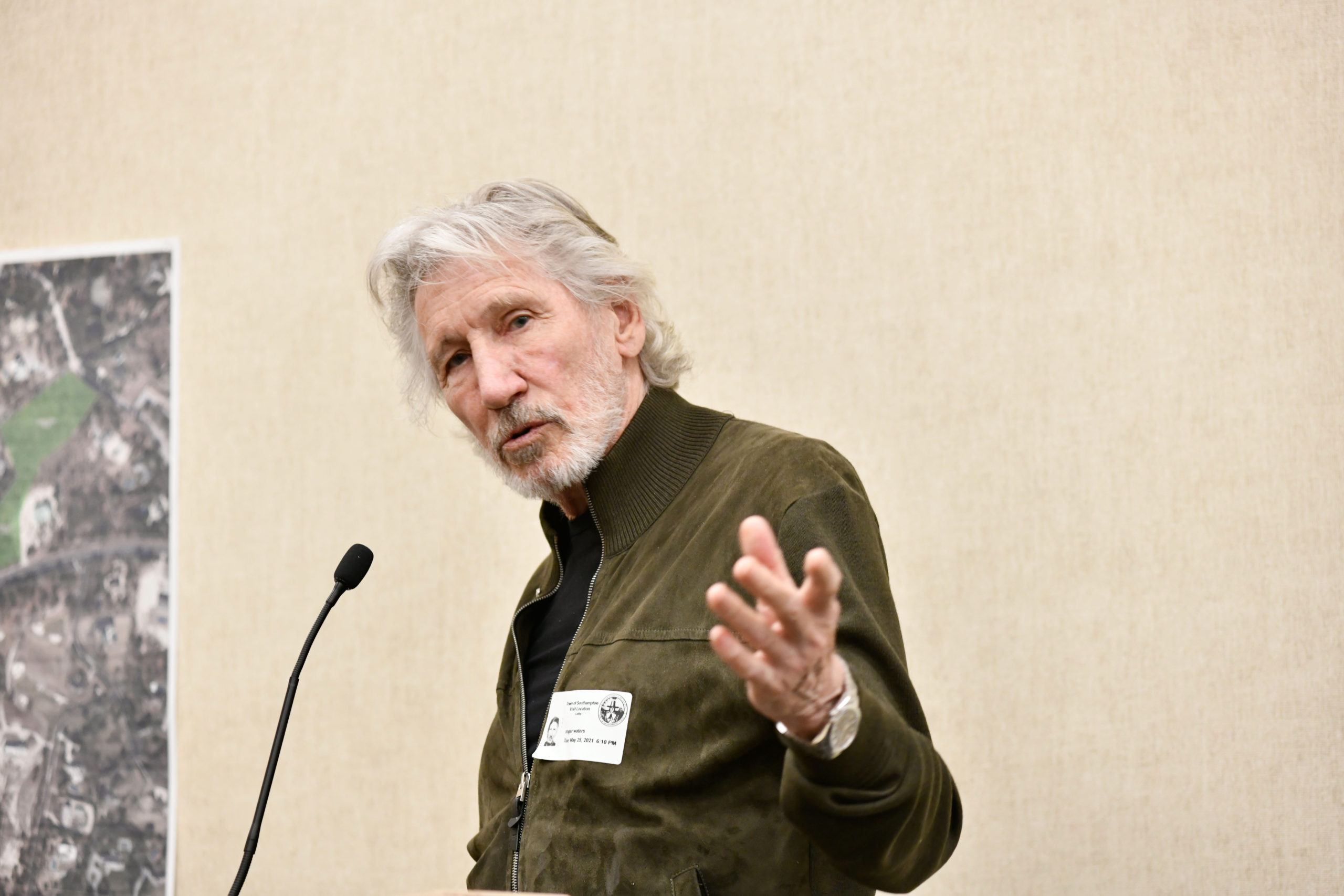 Roger Waters speaks at Tuesday's Southampton town Board meeting.  DANA SHAW