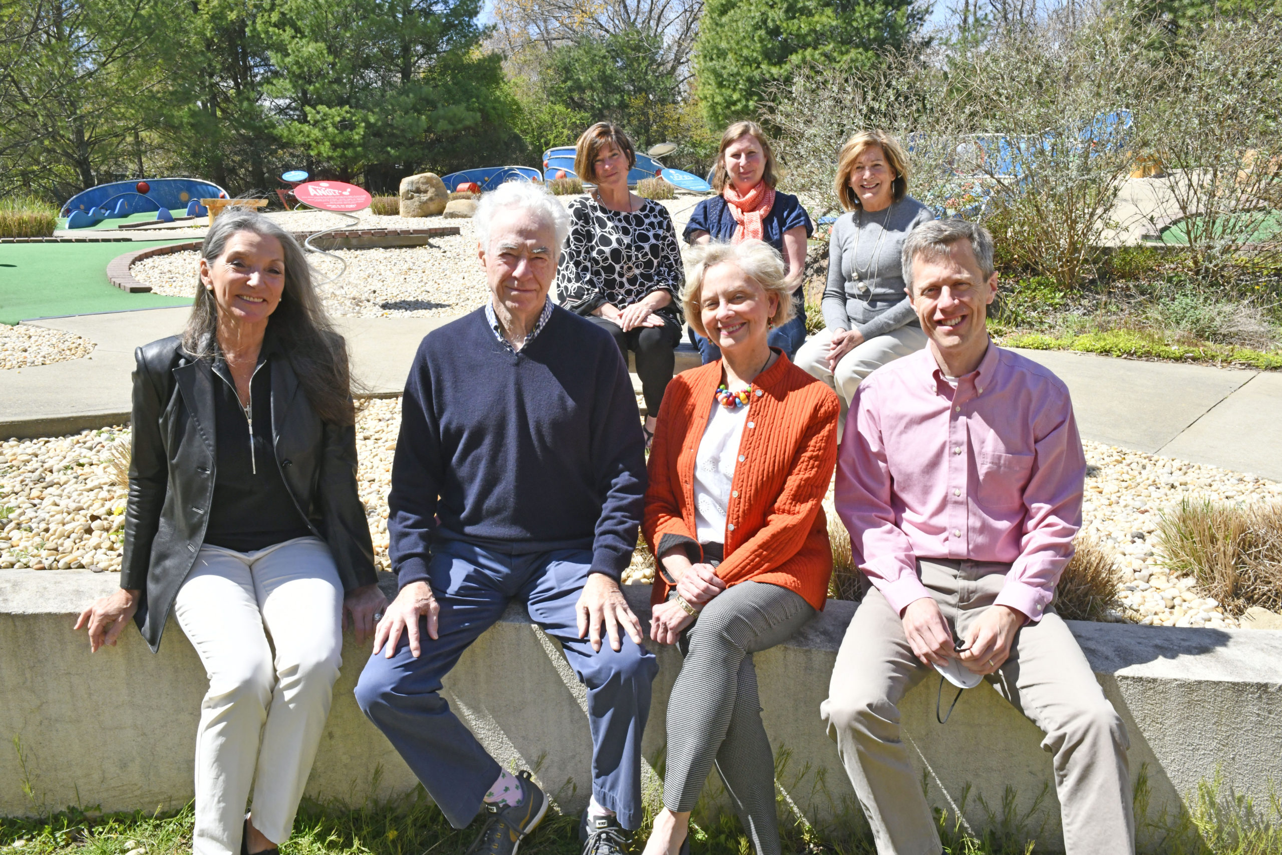 At CMEE, back row, Theresa Roden of i-tri; Rebecca Morgan Taylor, Executive Director of Project Most; and Joan Overlock, director of Development for the Eleanor Whitman Early Childhood Center. Front row, left to right, Deb McEneaney of the Bridgehampton Child Care and Recreational Center; Dan Shedrick, creator, Loretta Davis, Executive Director of the Retreat and Stephen Long, President of CMEE.       DANA SHAW