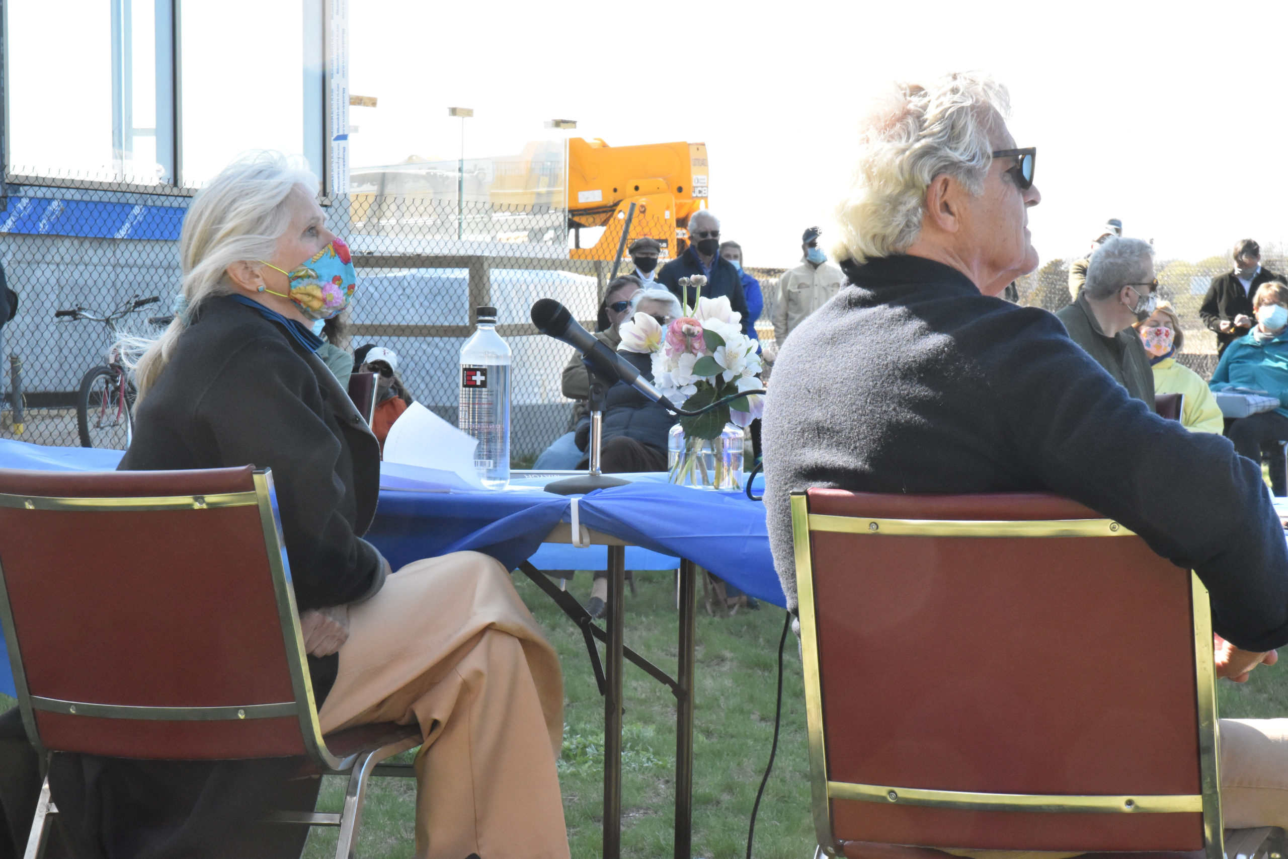 Mayor Kathleen Mulcahy and Trustee James Larocca will face off in the June 15 mayoral election. They are seen here at an April 23 forum on waterfront development held at John Steinbeck Waterfront Park.  STEPHEN J. KOTZ
