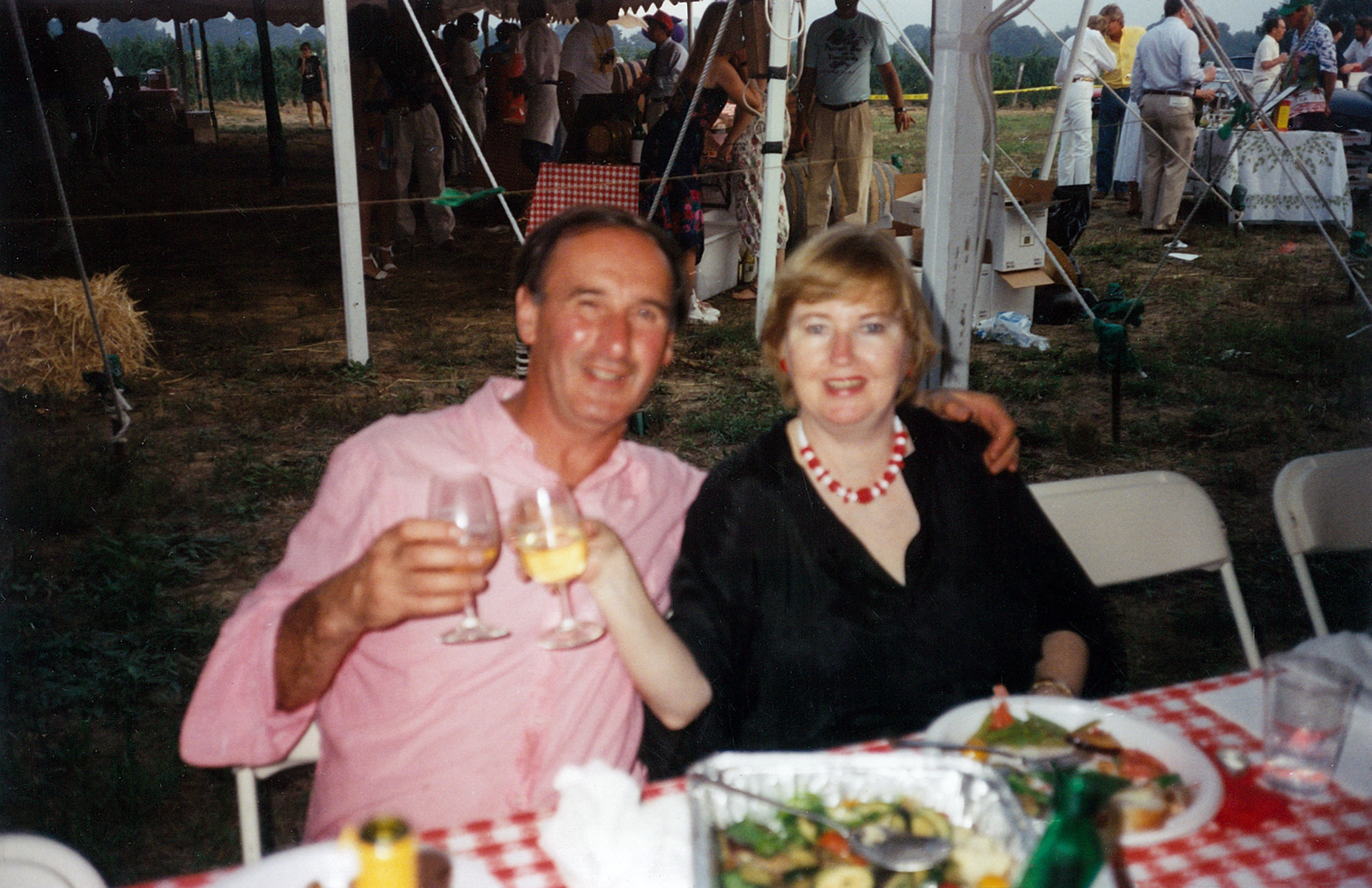 Eileen Obser and her late husband, Sam Boxer at the Long Island Barrel Tasting & Barbecue. Outside the tent, is Starr Boggs, in white.