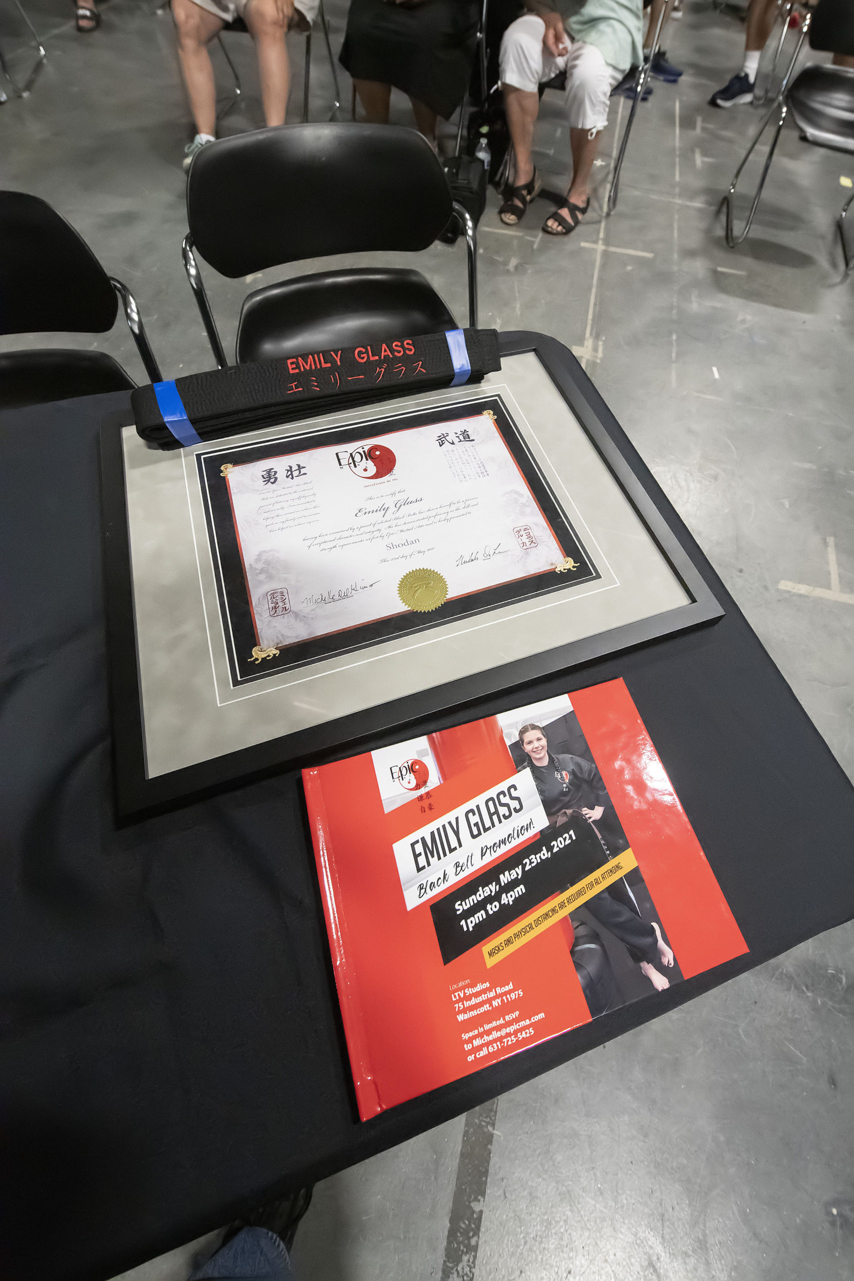 Emily Glass's black belt and certification.
