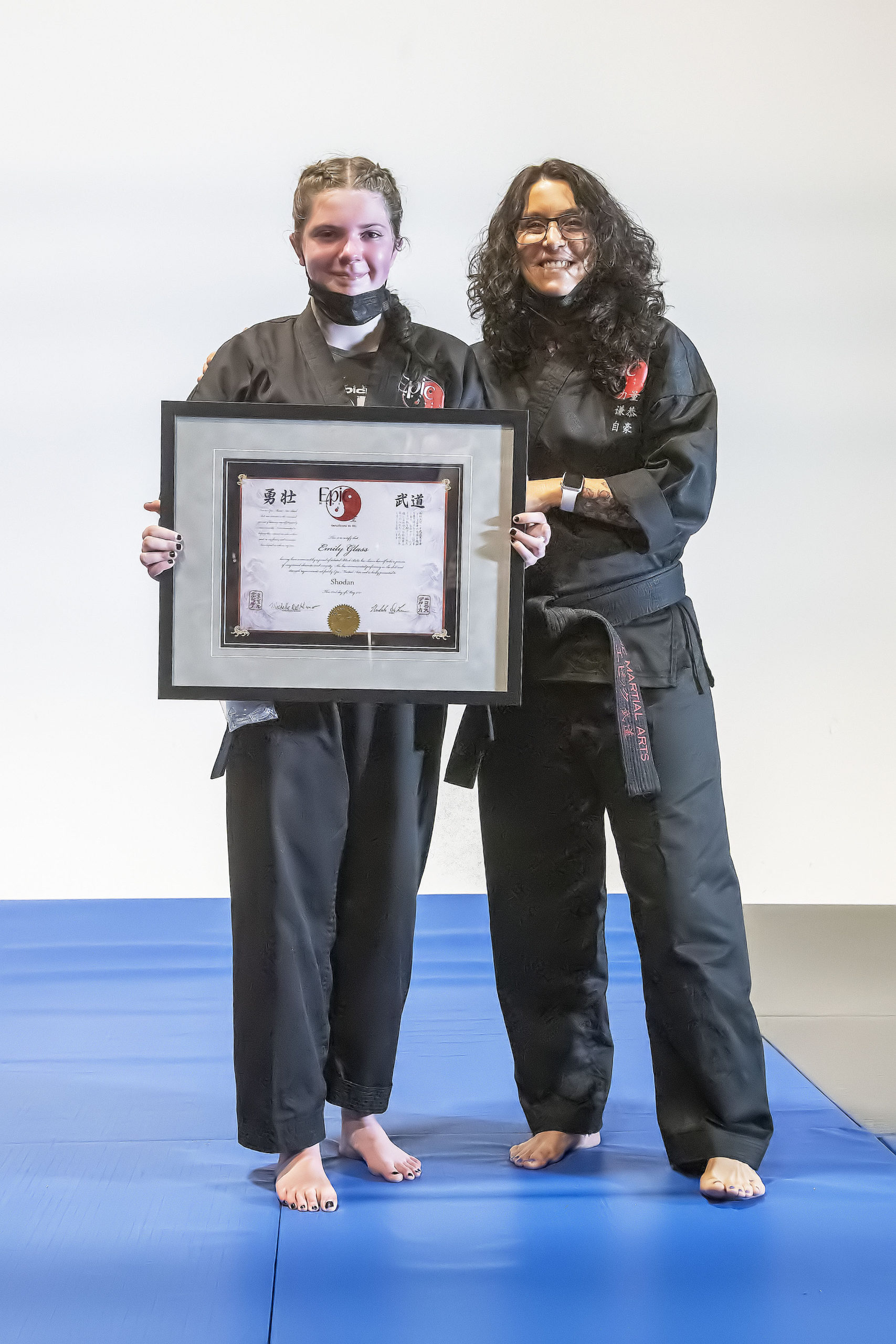 Emily Glass, left, with instructor Michelle Del Giorno.