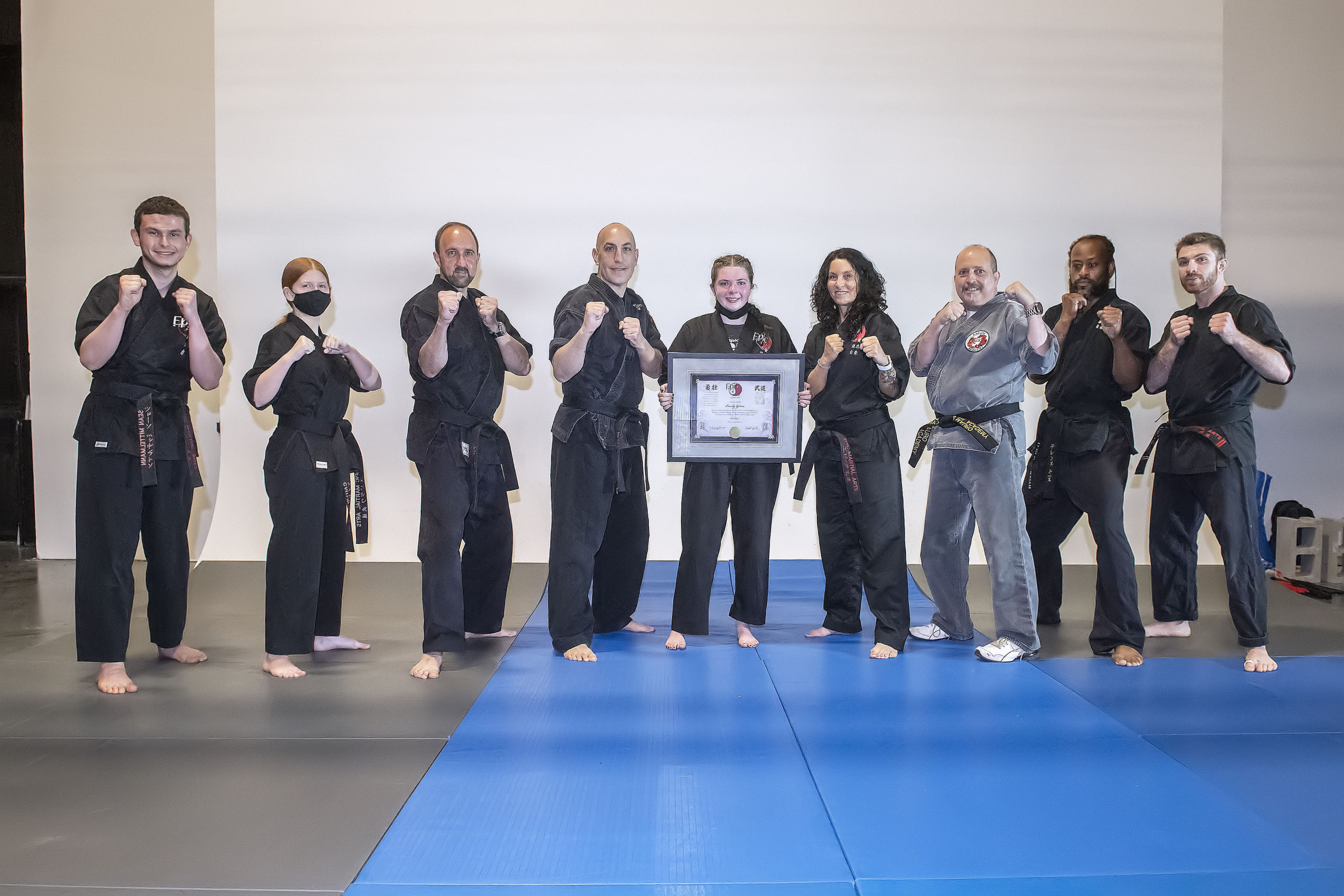 Emily Glass with the instructors of EPIC Martial Arts.
