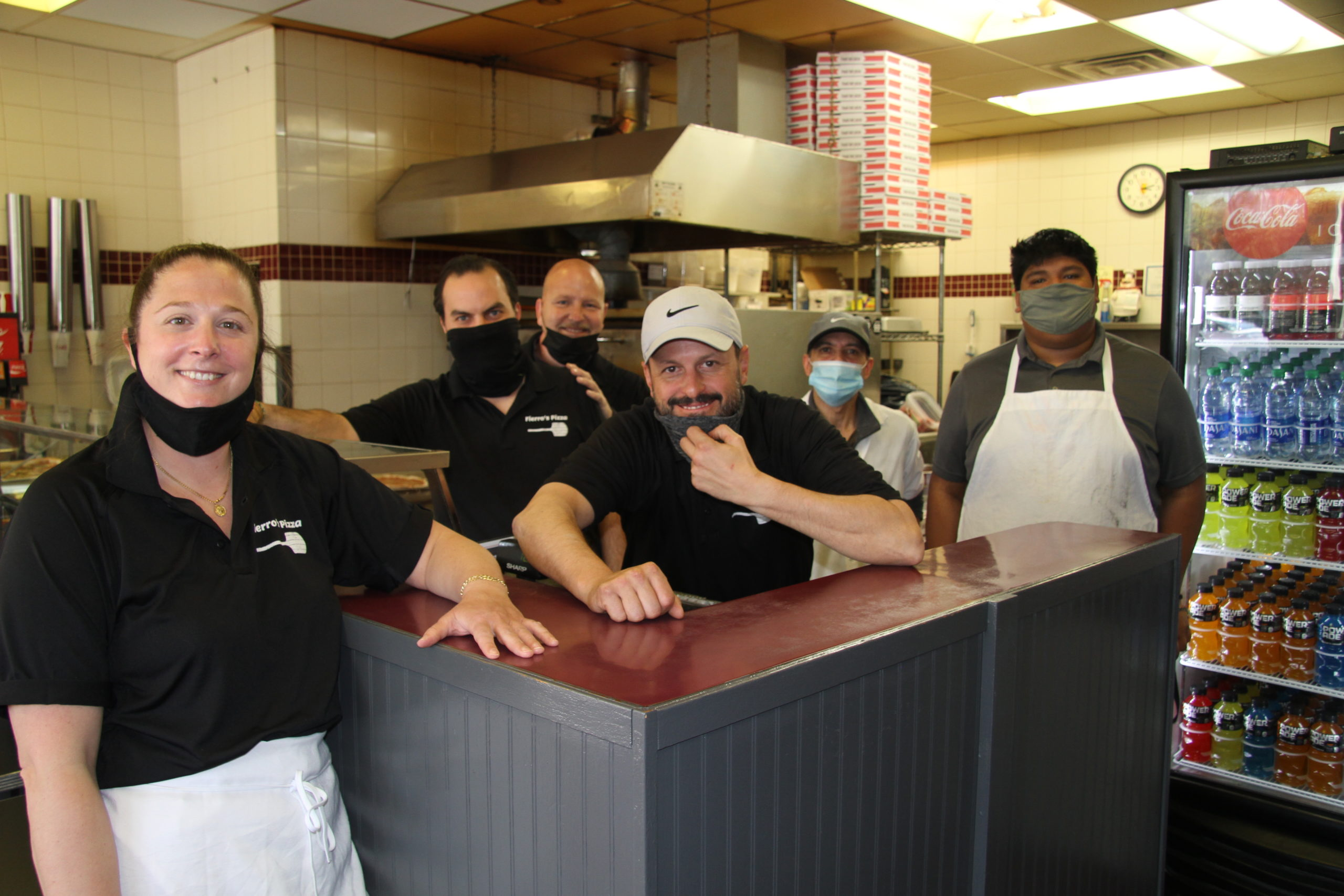 The crew of Fiero's Pizza in East Hampton welcomed two new partners, Emma Beudert and Joe Kastrati, this week.