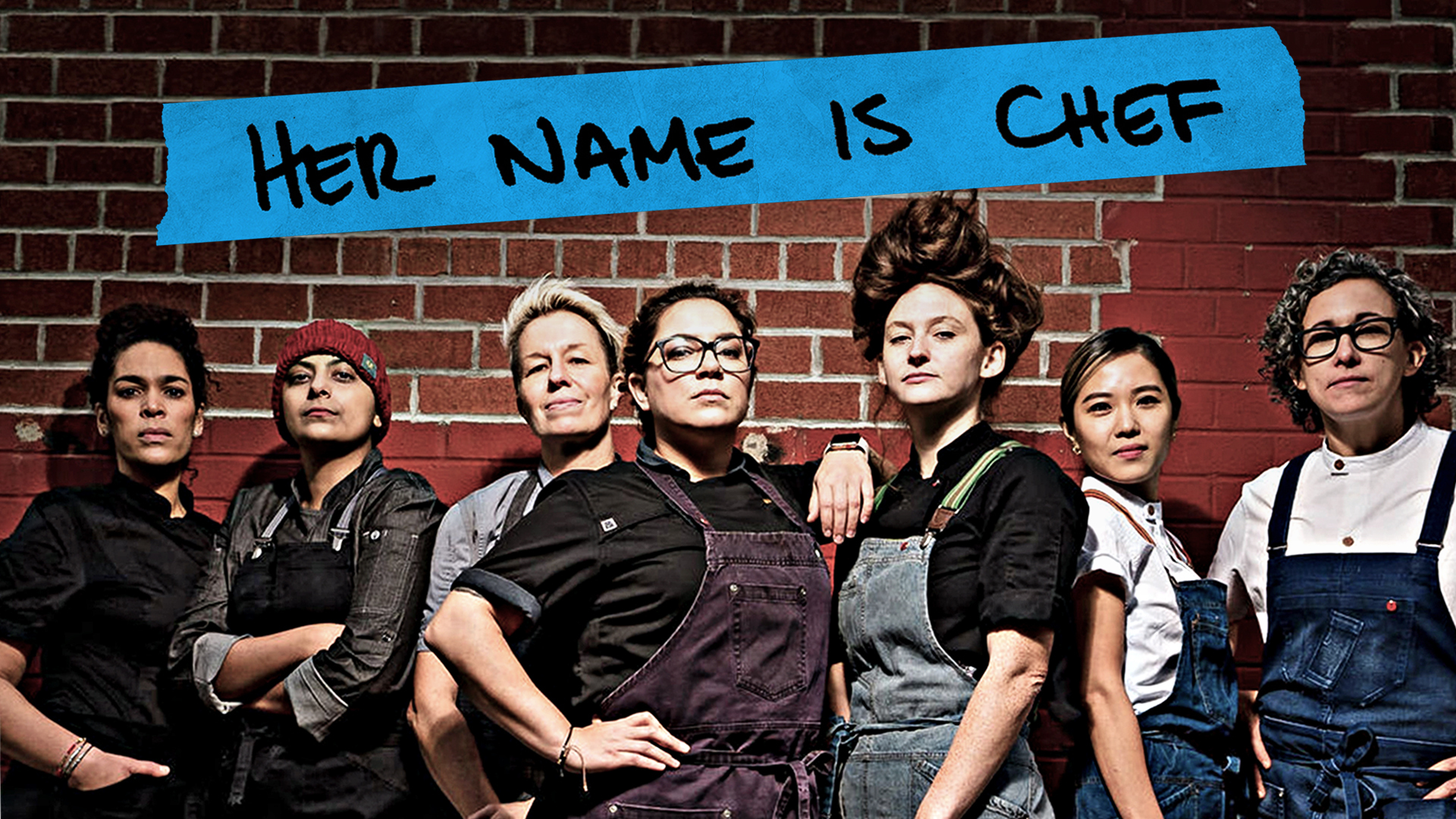 """The six female chefs and chef interviewer featured in """"Her Name Is Chef,"""" available funtil May 23, on the Hamptons Doc Fest website."""