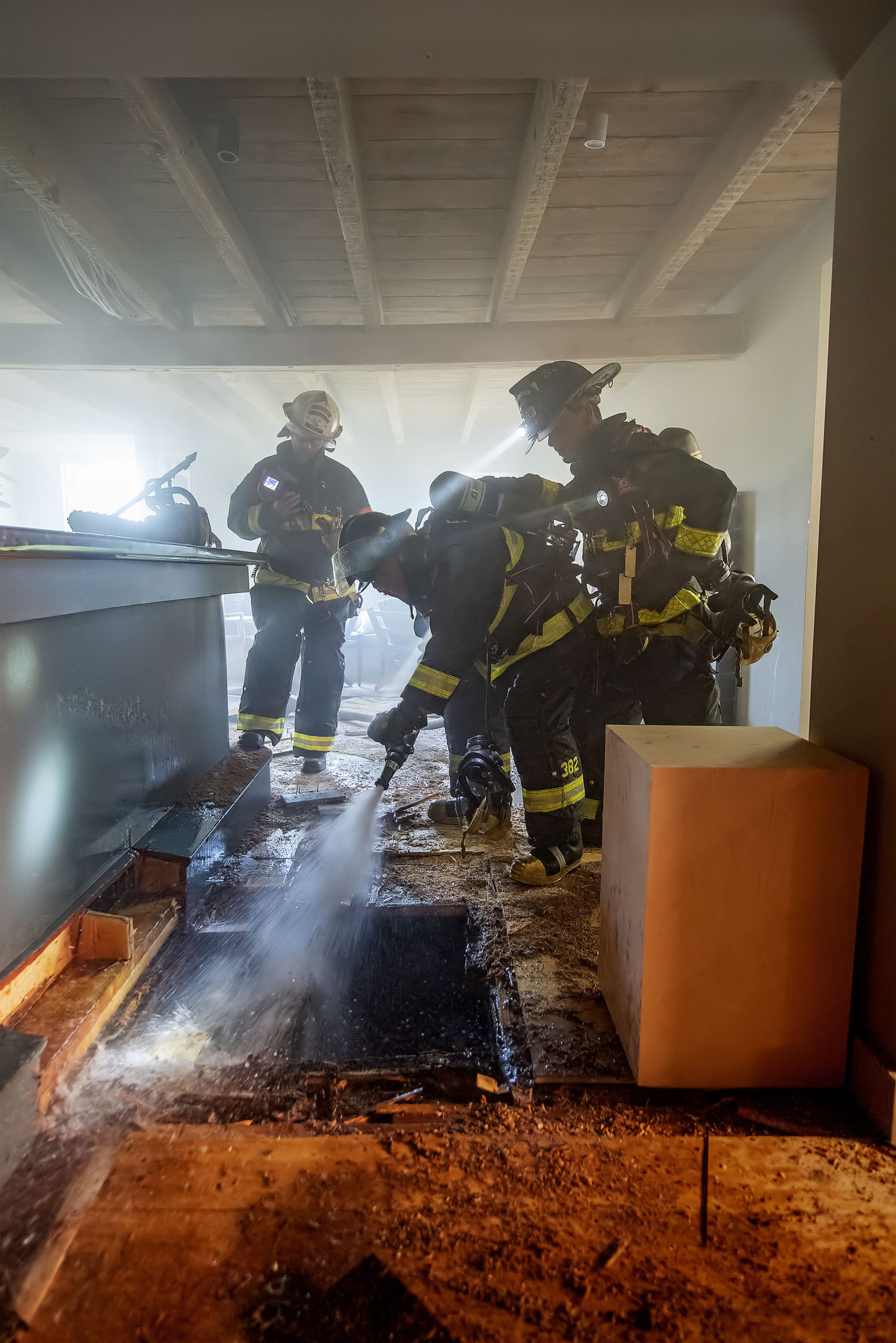 Firefighters battled a fire in the basement of Moby's restaurant in East Hampton on Friday morning.