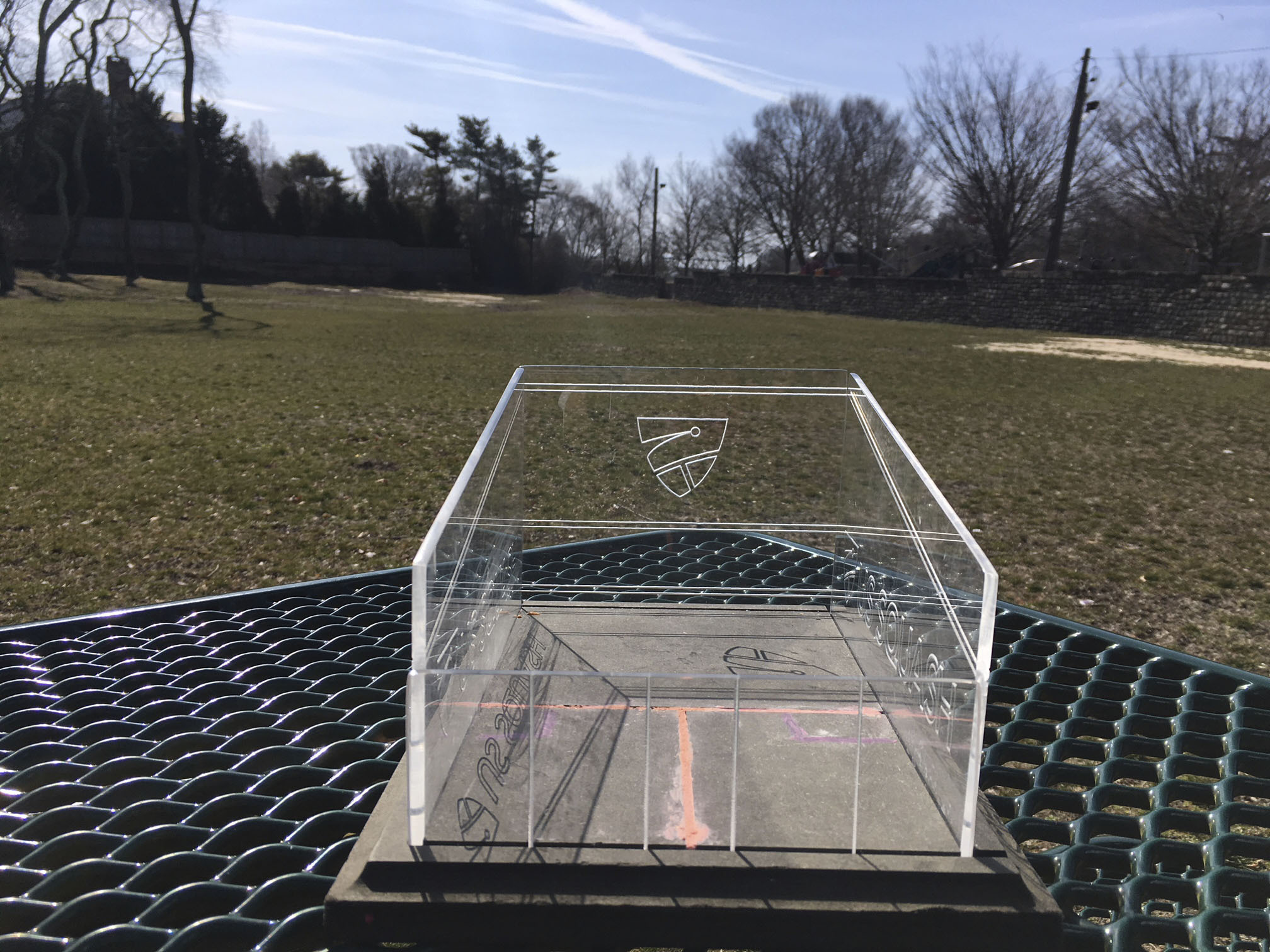 A miniature replica of a glass squash court like the one that may be installed now behind the Southampton Arts Center in Southampton Village.