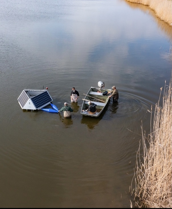 Devices deployed in Lake Agawam in April appear to be helping to mitigate the harmful algal bloom.
