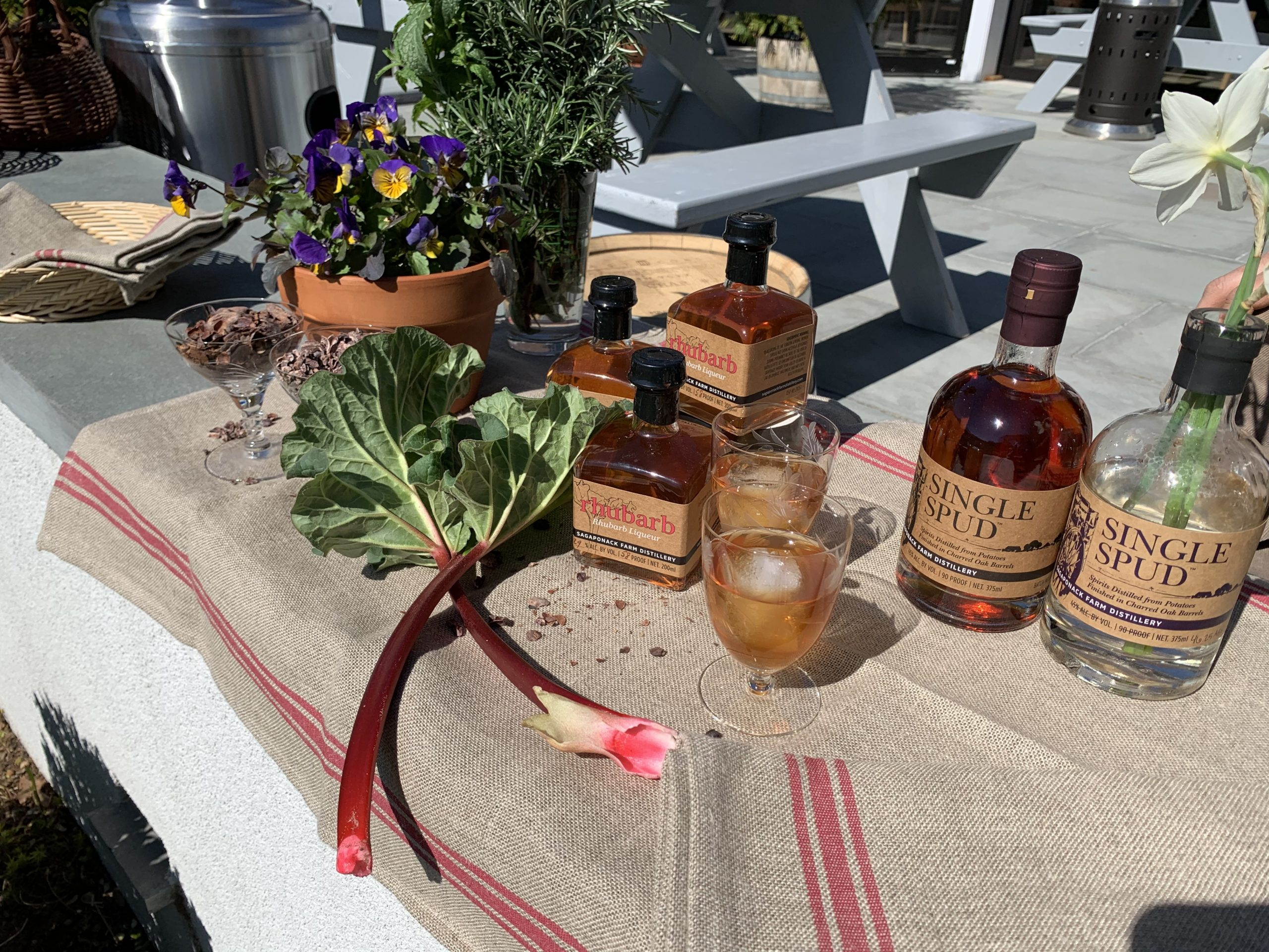 """Ingredients for the Sagaponack Farm Distillery and North Fork Chocolate Company's new chocolate bars — the """"Whiskey Bar"""" and the """"Rhubarb Bar."""""""