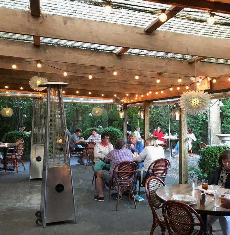 Outdoor dining in the beer garden at Fresno.