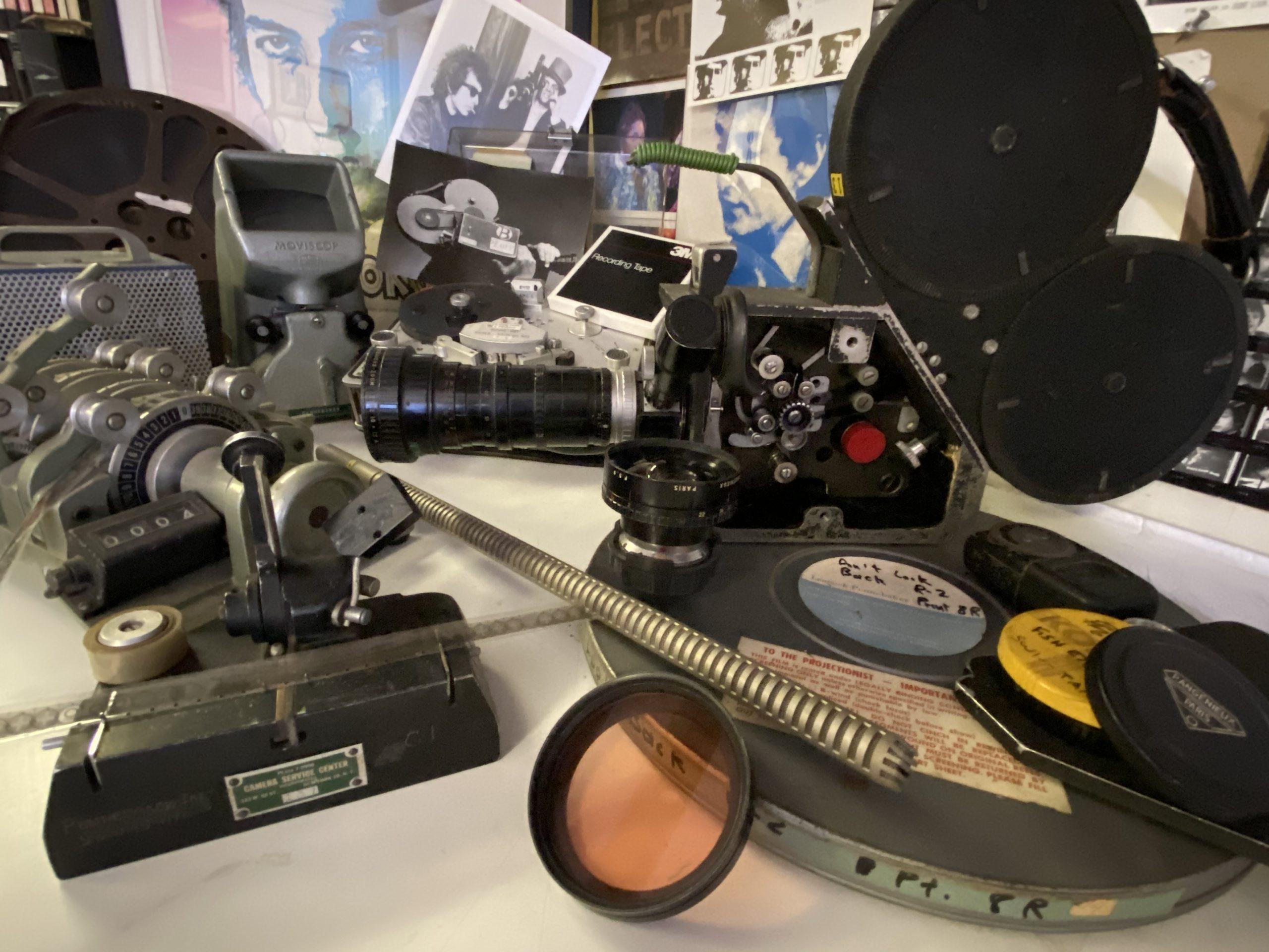 Some of D.A. Pennebaker and Chris Hegedus's filmmaking equipment.