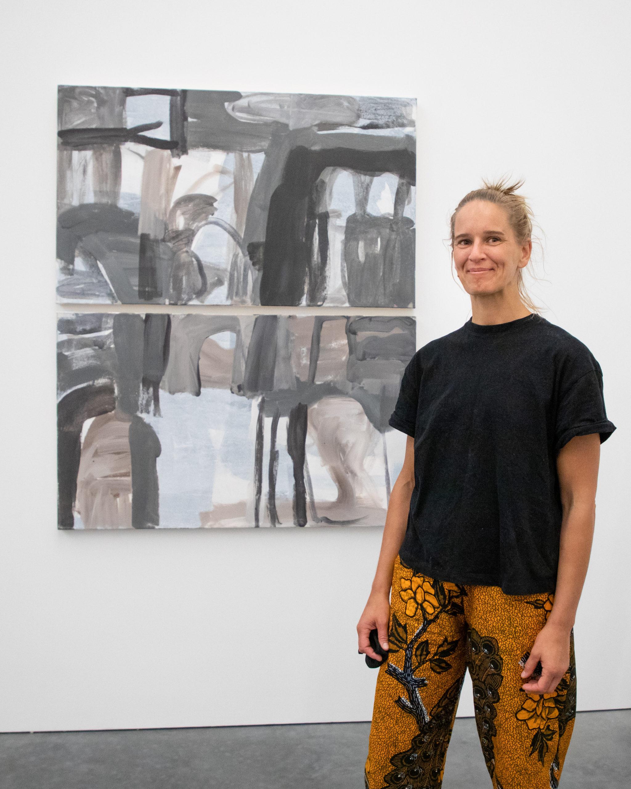 Artist Virva Hinnemo at the opening of