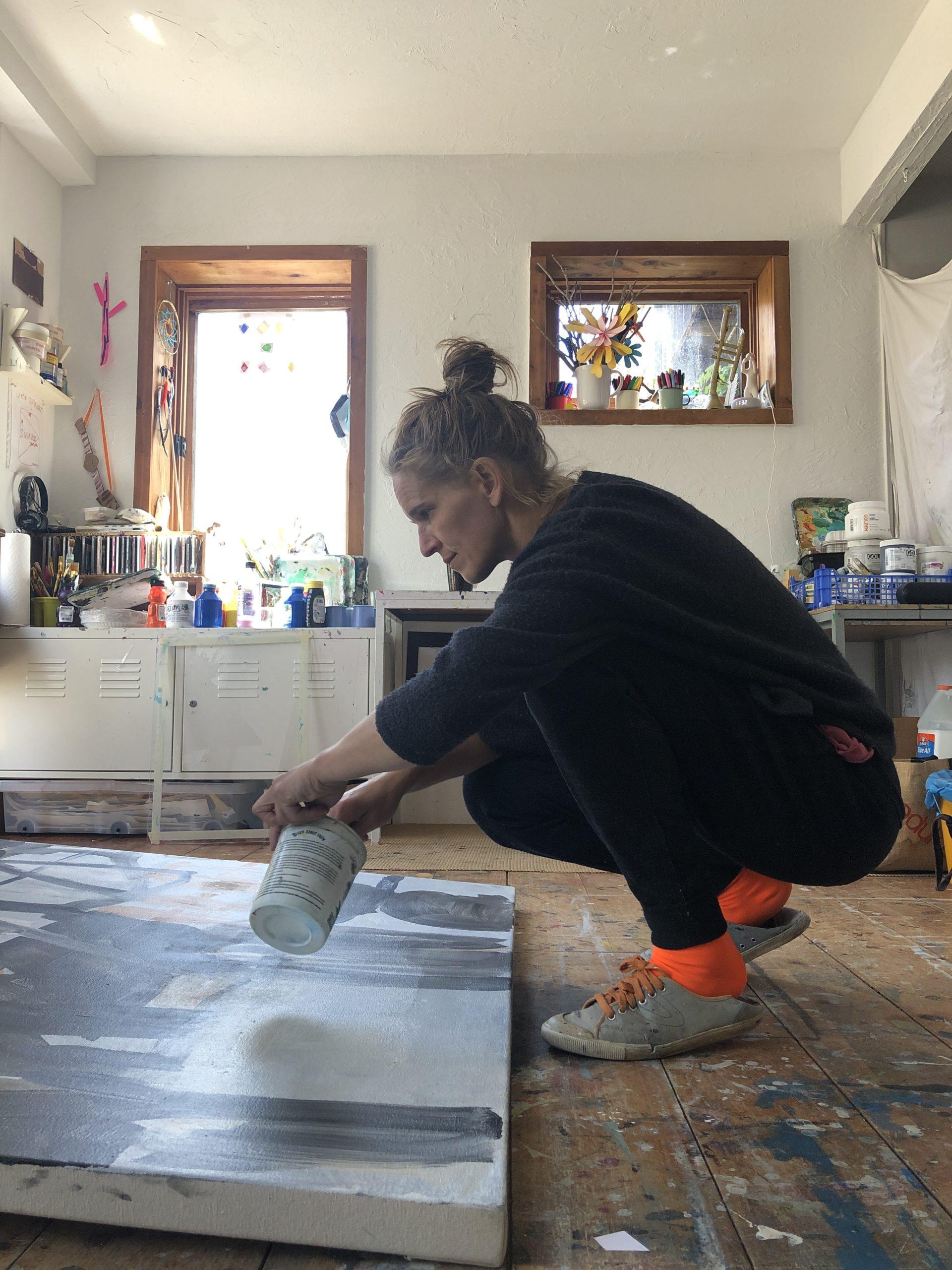 Virva Hinnemo working in her Springs studio.