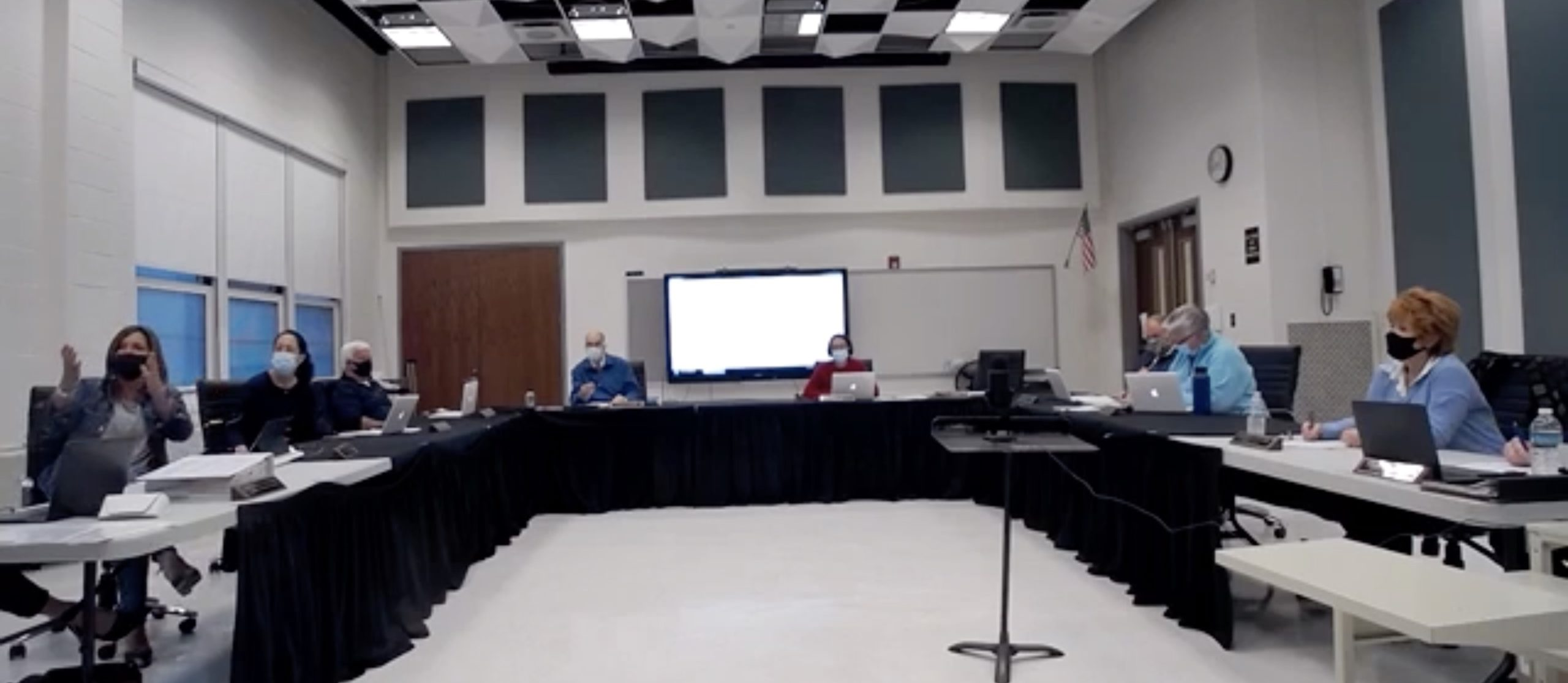 Westhampton Beach board of education members respond to parents asking what will be done about perceived racism in the school district during the May 10 meeting.