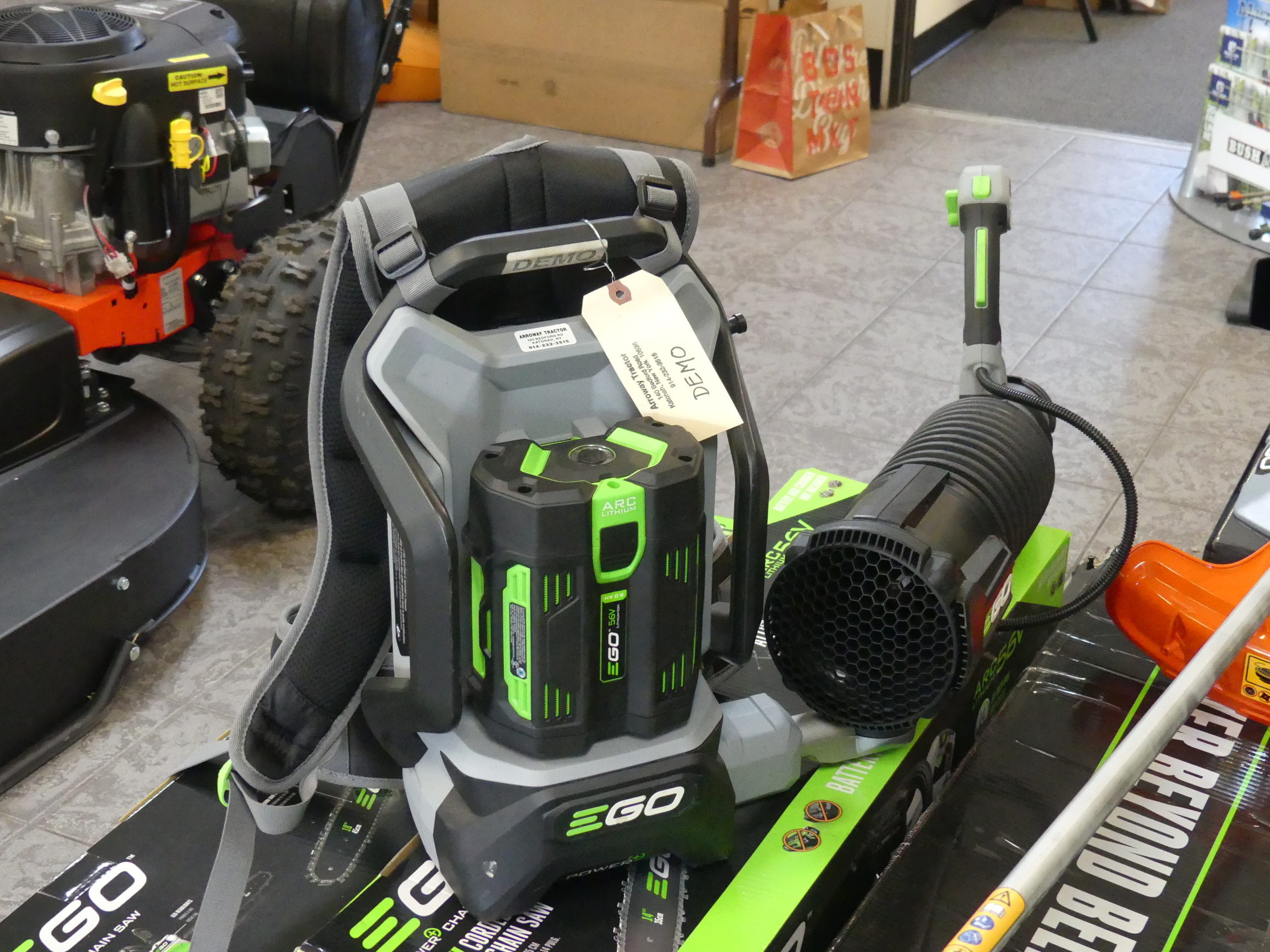 This Ego Power+ (about $400) battery-powered leaf blower may not make it for the pros, but for homeowners it's eight times quieter than a gas blower and only 12.5 pounds. The bad news is that on high power the battery only lasts about 25 minutes. That's plenty of time for many properties but for $120 you can get a second battery for 50 minutes of run time at high power.  No gas, no emissions. There are other more powerful electric commercial blowers. ANDREW MESSINGER