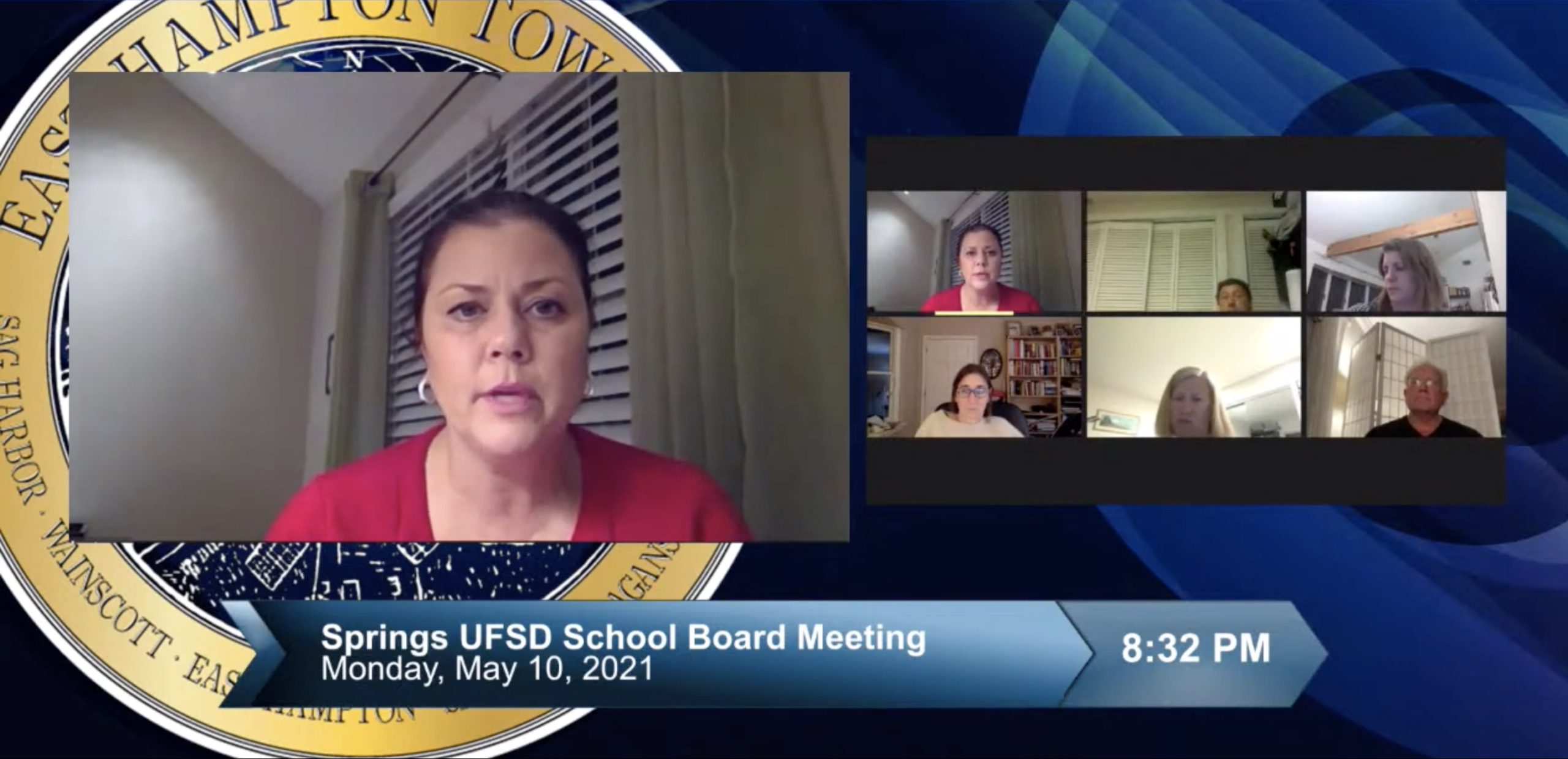 Springs School Principal Christine Cleary unveils two different school day scheduling options for the 2021-22 school year during the May 10 board of education meeting.