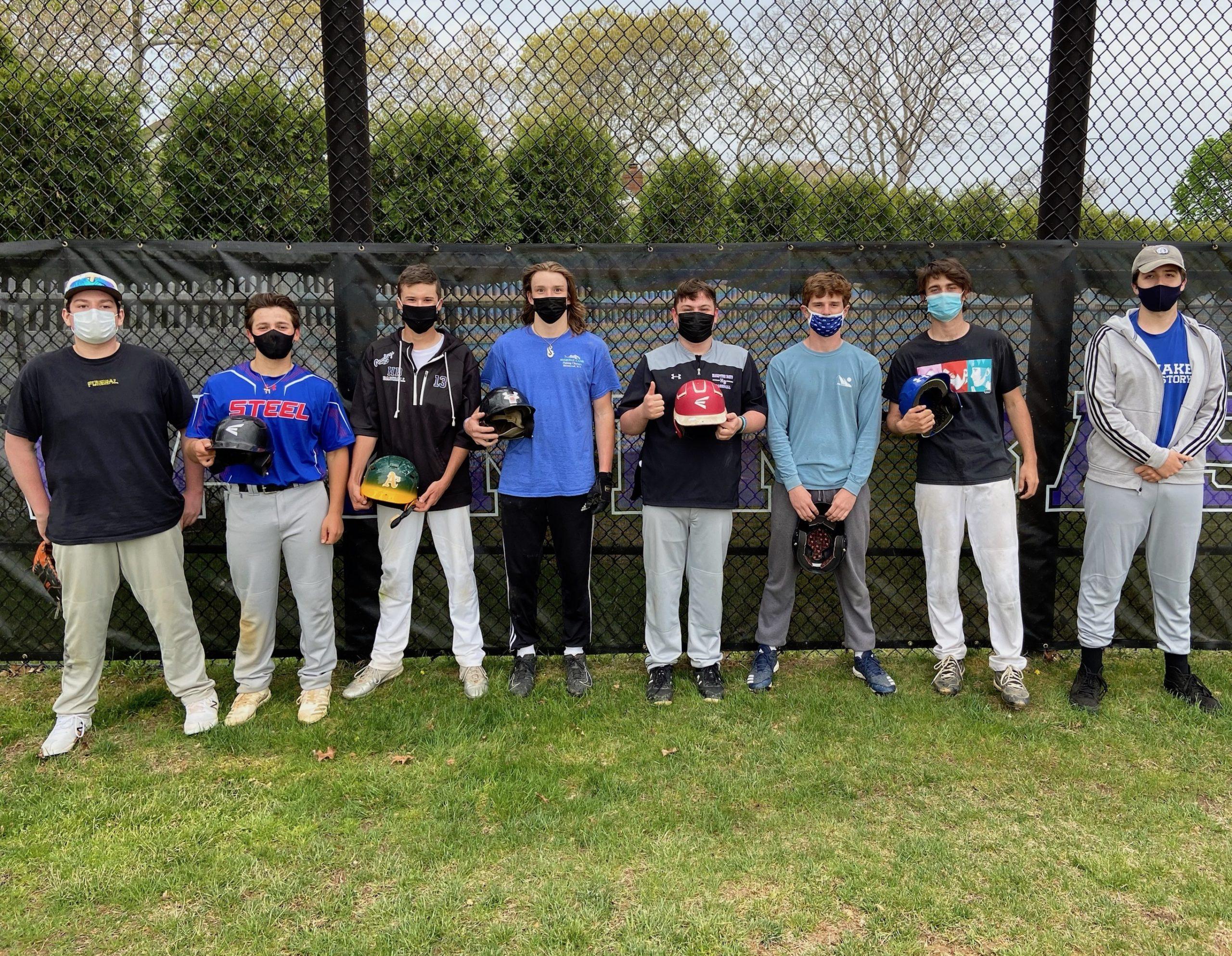 Hampton Bays' baseball team boasts eight seniors this season — Paul Ryan, Jordan Adelson, David Catena, Mickey Bracken, Gus Schmidt, River Orlando, Kai Leporati and Reese Springer.
