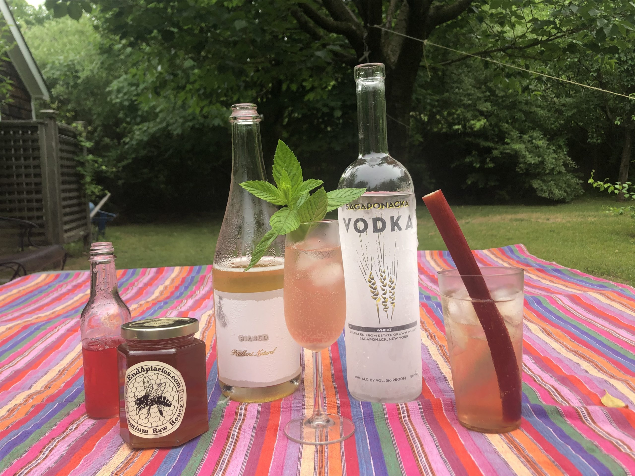 Create your own rhubarb cocktail with all local ingredients: Sag Harbor honey, rhubarb, wheat vodka and rhubarb liquor from the Sagaponack Farm Distillery.