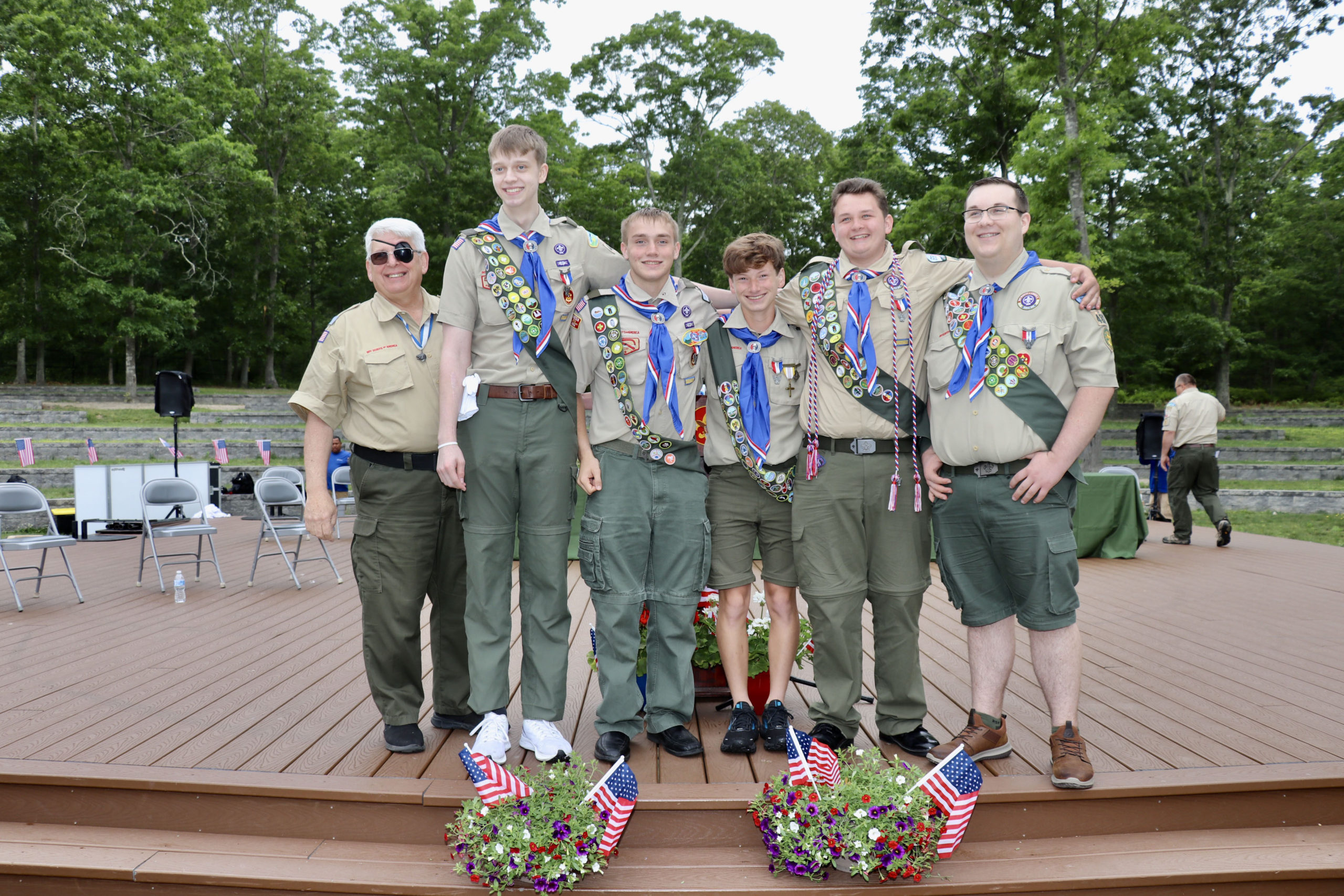 With Scoutmaster Emeritus  Allen Schneider, are, Aidan Martin, Bryan Ambrose, Maximus Haynia, Aidan Utz and Corey Hoffmann.        MARSHA TERRY